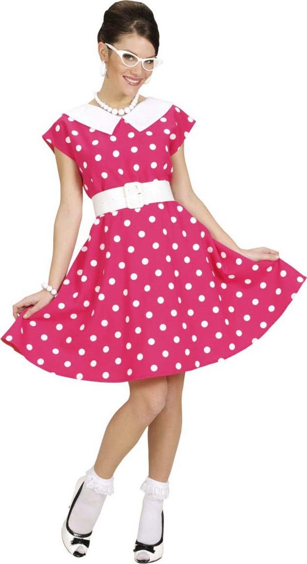 15c282173b5af Travestimento anni  50 per donna  abito rosa a pois bianchi