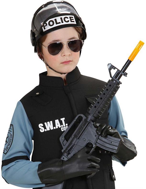 Accessorio per travestimento da poliziotto: casco nero con visiera