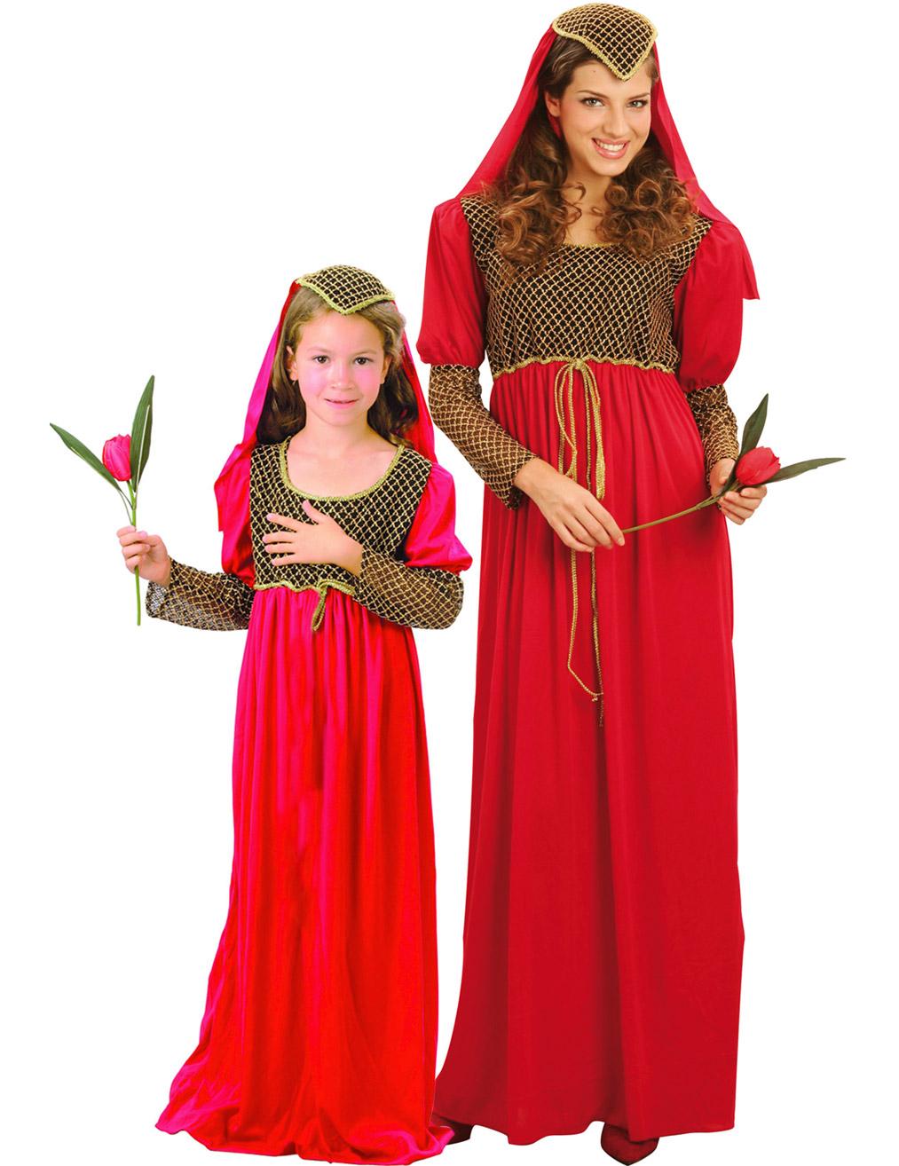 Favorito Coppia di principesse medievali in rosso donna e bambina IS35