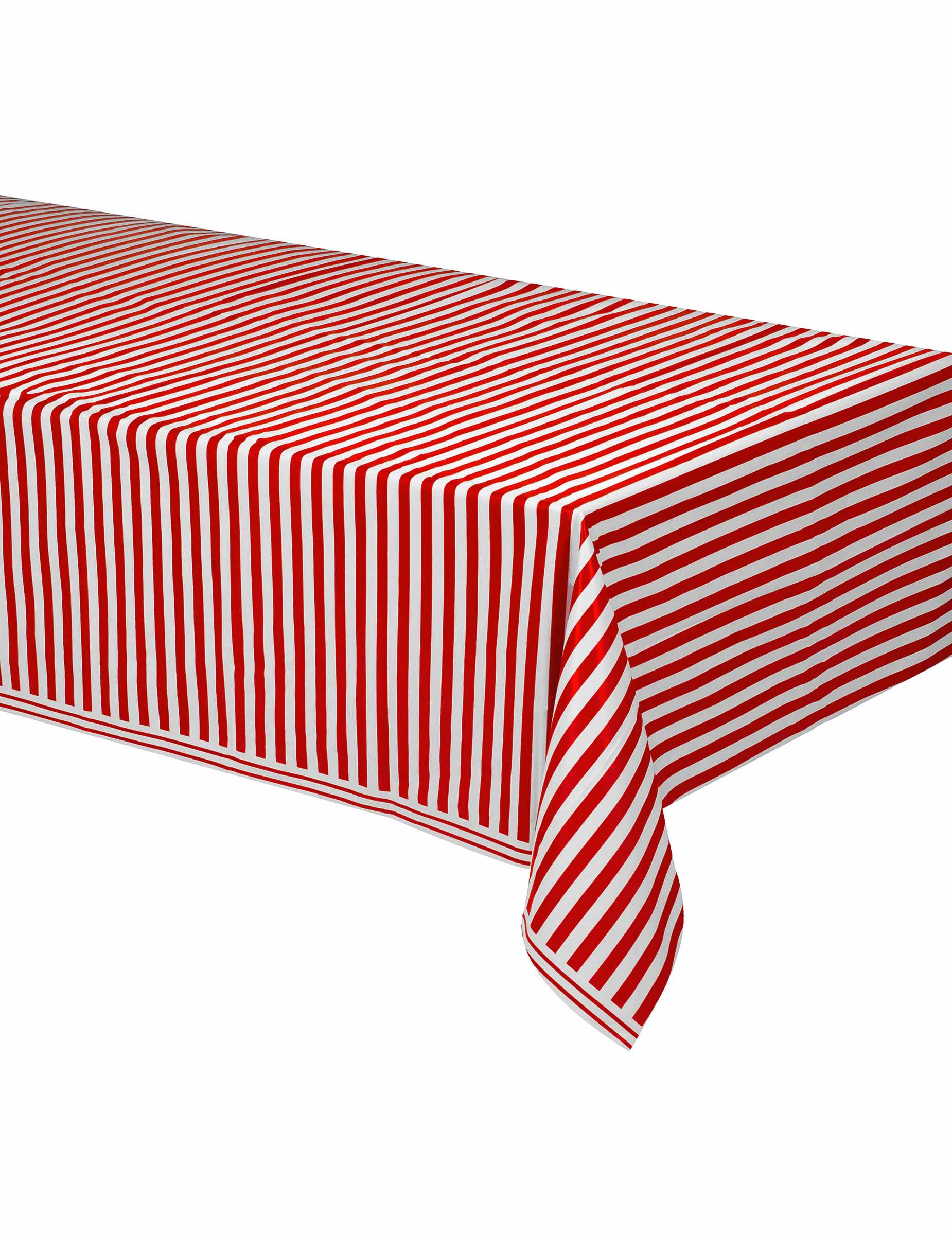 tovaglia di plastica a righe bianca e rossa addobbi e vestiti di carnevale online vegaoo. Black Bedroom Furniture Sets. Home Design Ideas