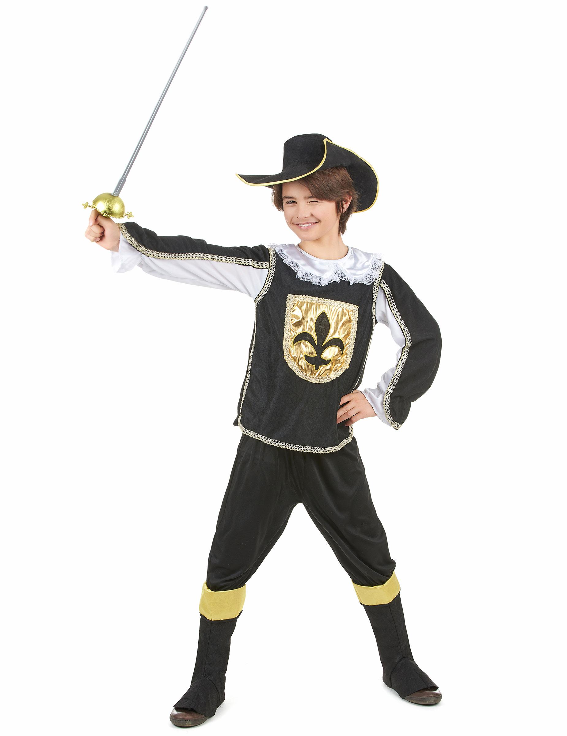 Costume Moschettiere nero oro bambino  Costumi bambini c722ecea861e