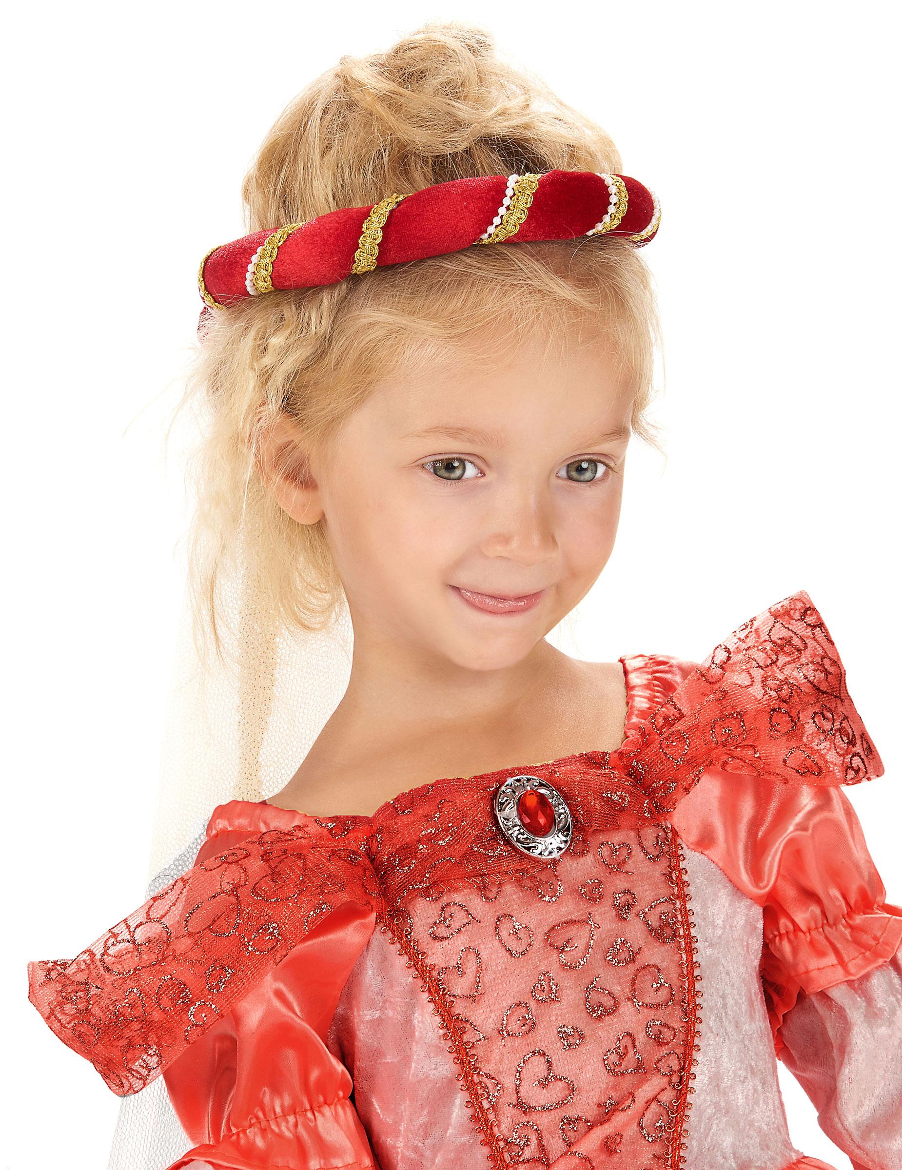 Copricapo medievale rosso bambina,2