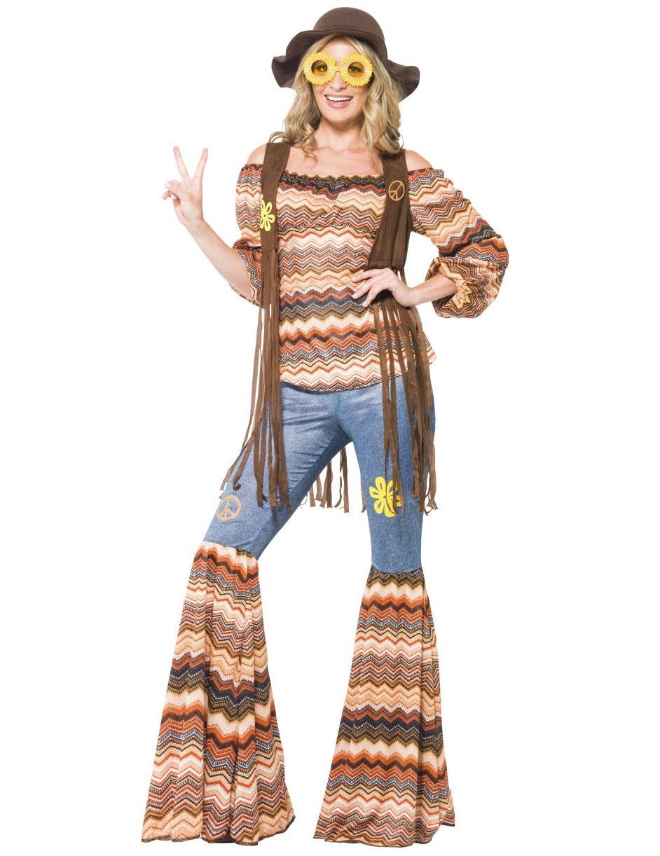 vivido e di grande stile uomo buona vendita Costume hippy donna figlia dei fiori