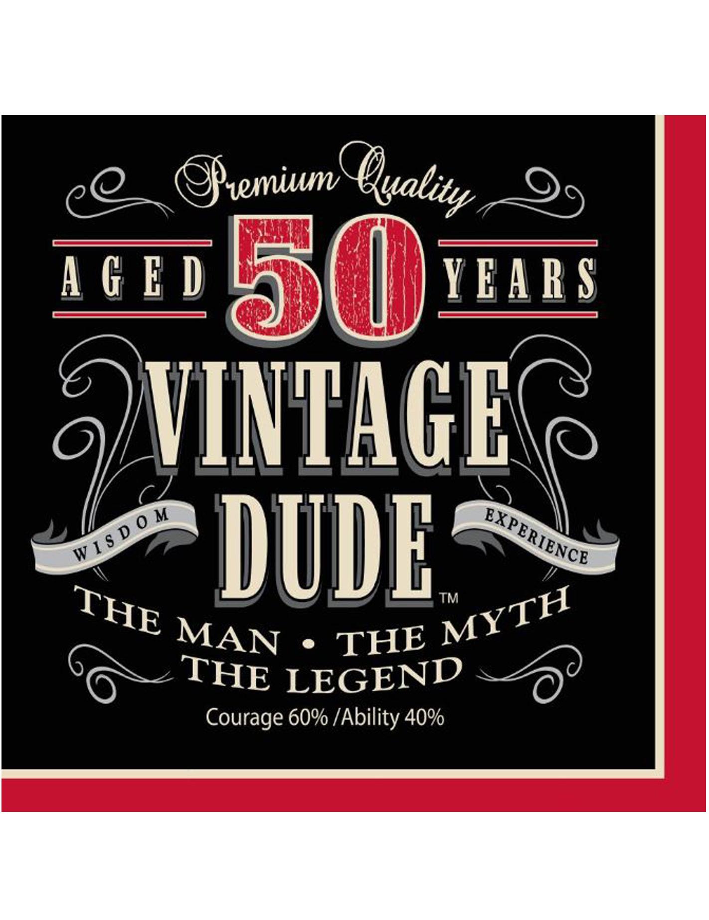 16 Tovaglioli Di Carta Compleanno Vintage 50 Anni Addobbie Vestiti