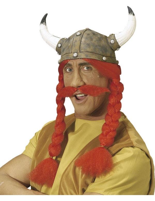 Casco guerriero gallico con trecce e baffi adulto  Cappelli 54ba3243ede4