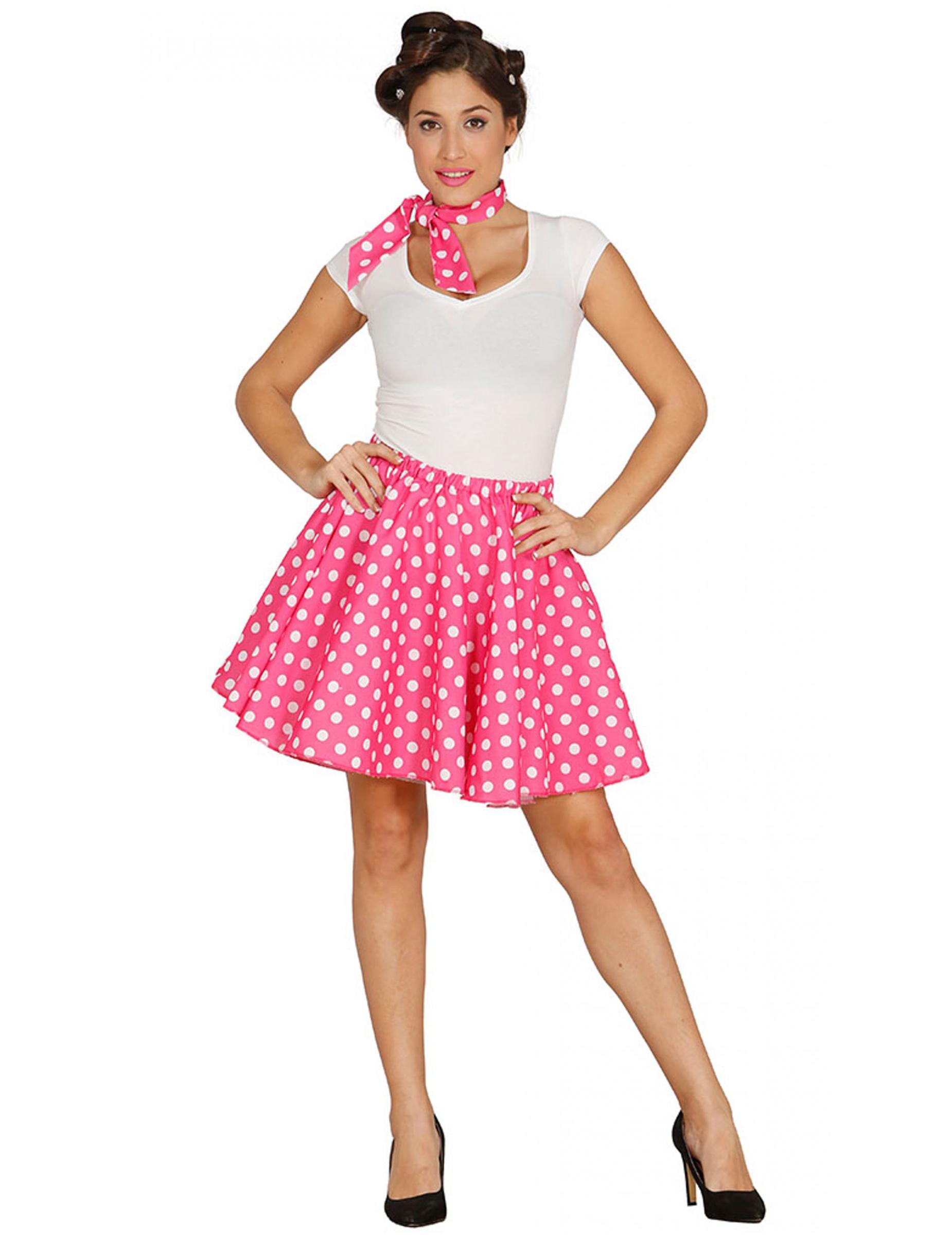 Gonna e foulard rosa a pois donna  Costumi adulti 9443efdac6d