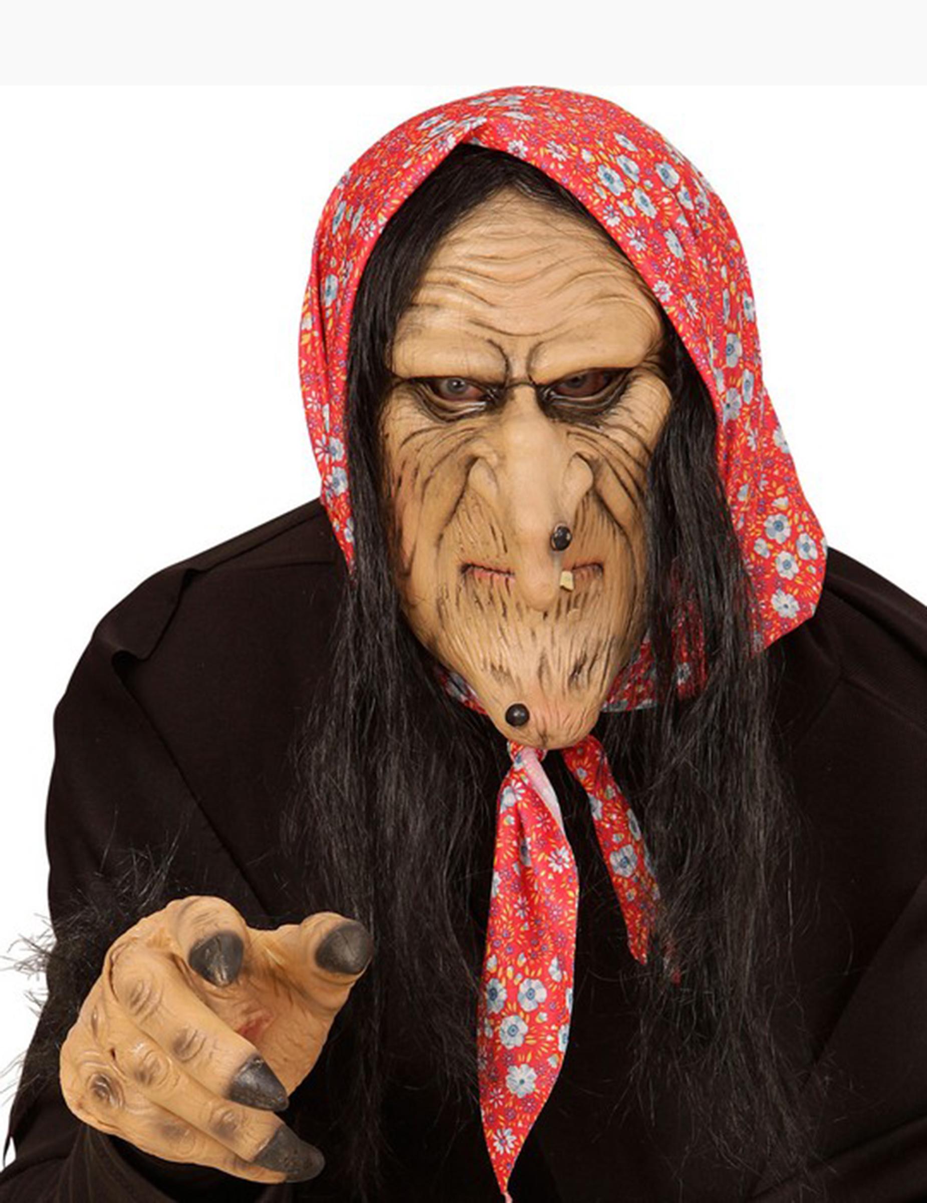 Maschera per Costume Strega Carnevale Halloween Megera Maga Bianco Adulti Donna Idea Regalo Natale Compleanno Festa