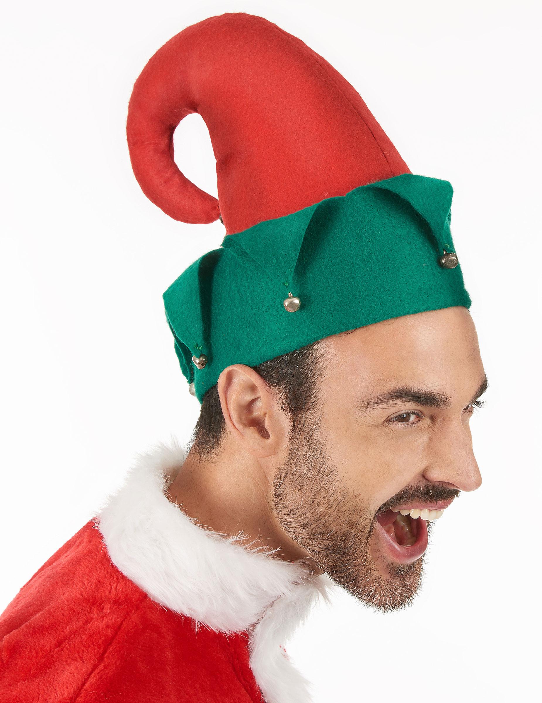Cappello folletto di Babbo Natale con campanelli  Cappelli 257c727bd980