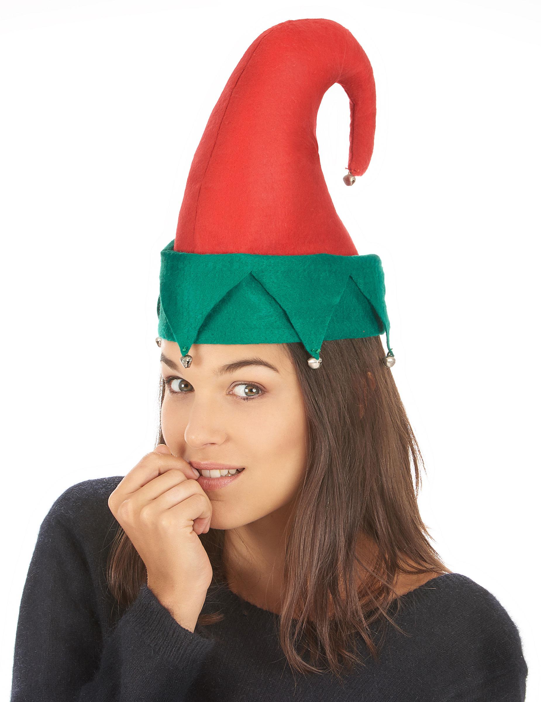 Cappello folletto di Babbo Natale con campanelli  Cappelli 934559d9b820