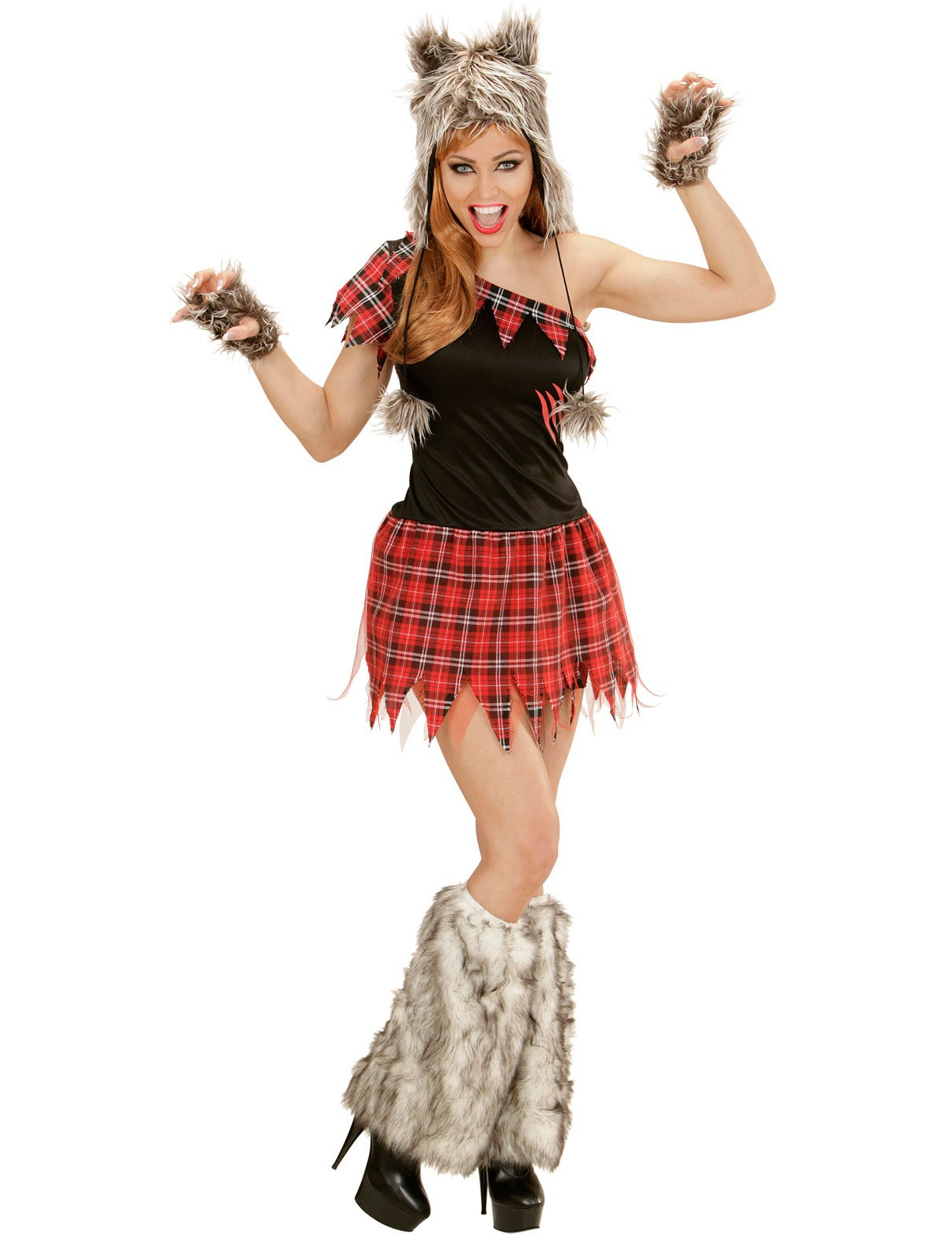 Costume lupo mannaro donna tartan halloween costumi for Caretas disfraces