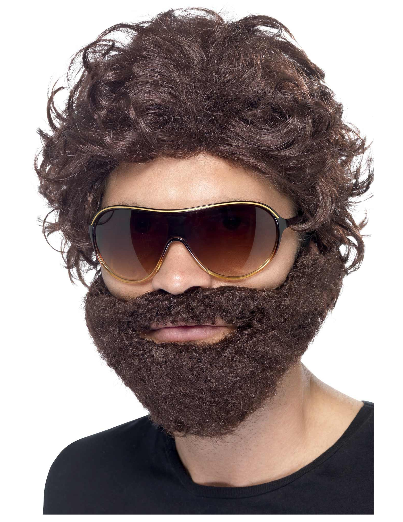Parrucca con barba marrone e occhiali da sole per adulto Taglia Unica OqD2nvxrFh