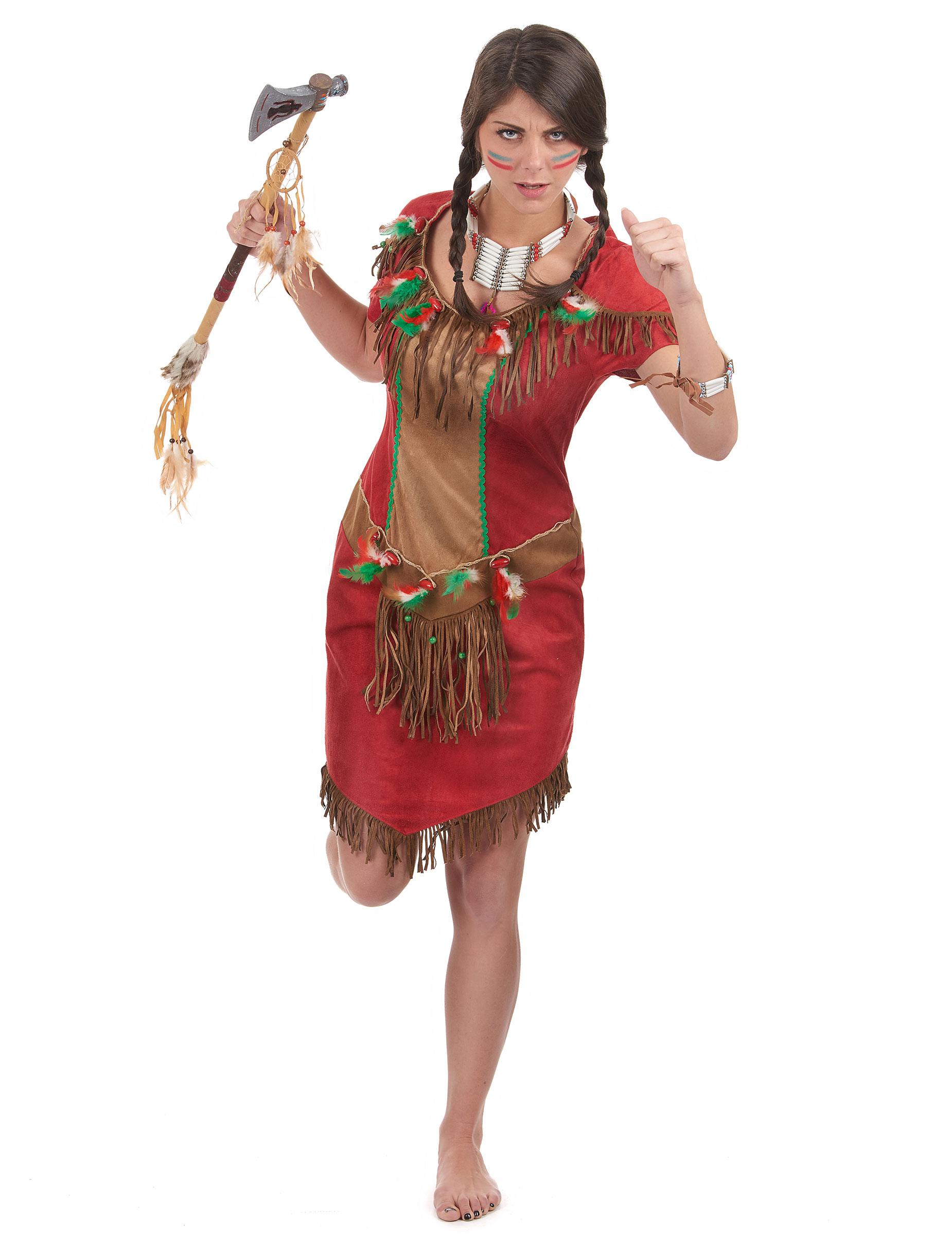 Costume Indiana d America rosso donna  Costumi adulti 9d8754905bf8