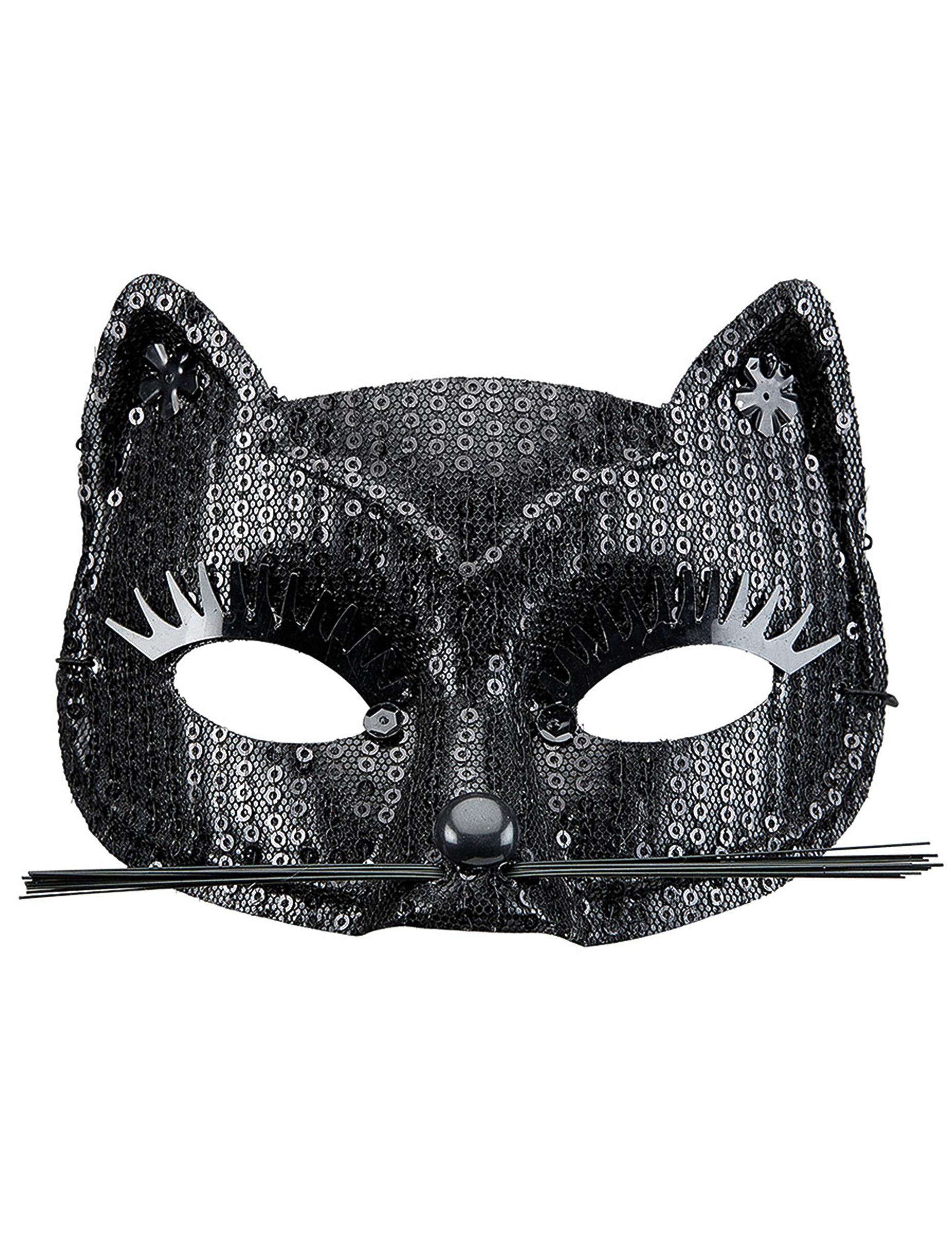 Maschera gatto nero per adulto maschere e vestiti di - Pagina colorazione maschera gatto ...