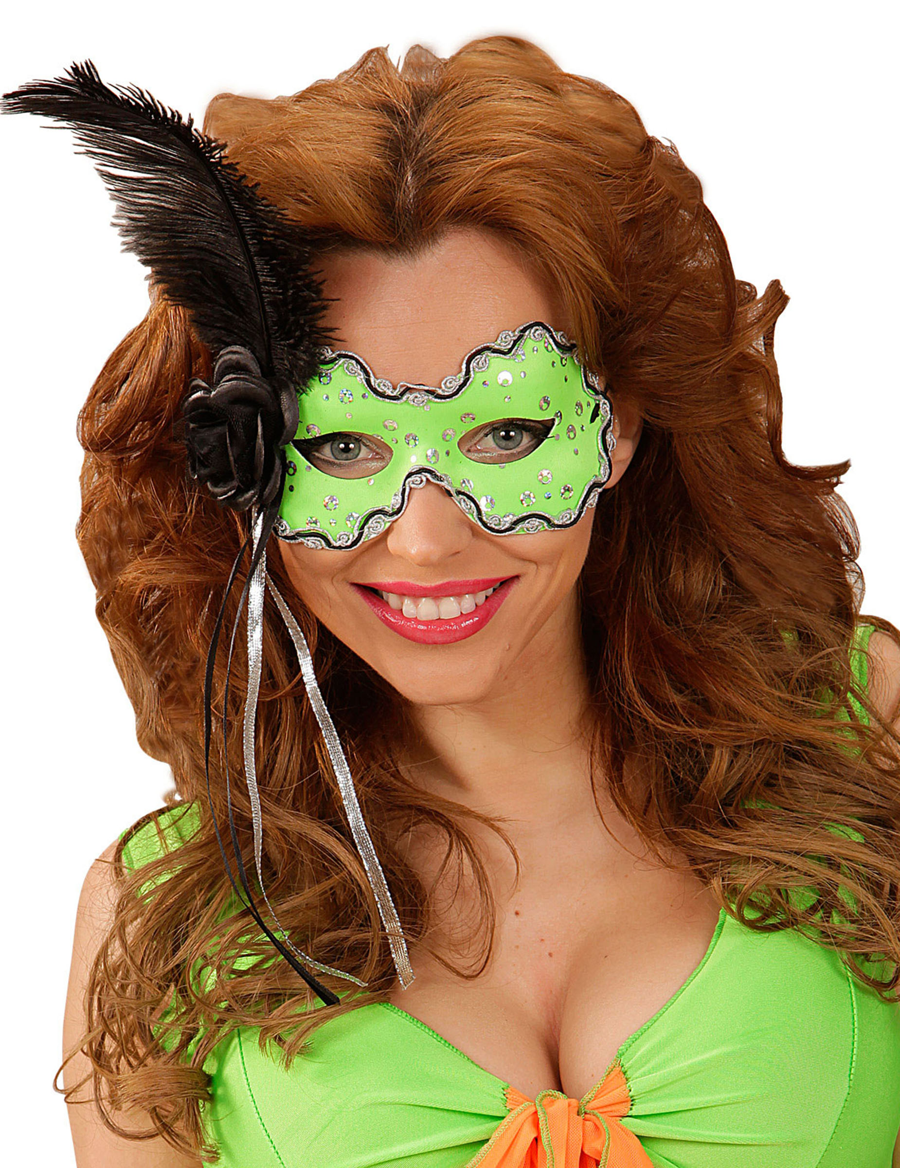 verde donna e Maschere Maschera per con `piume di nere vestiti d40xvWqX