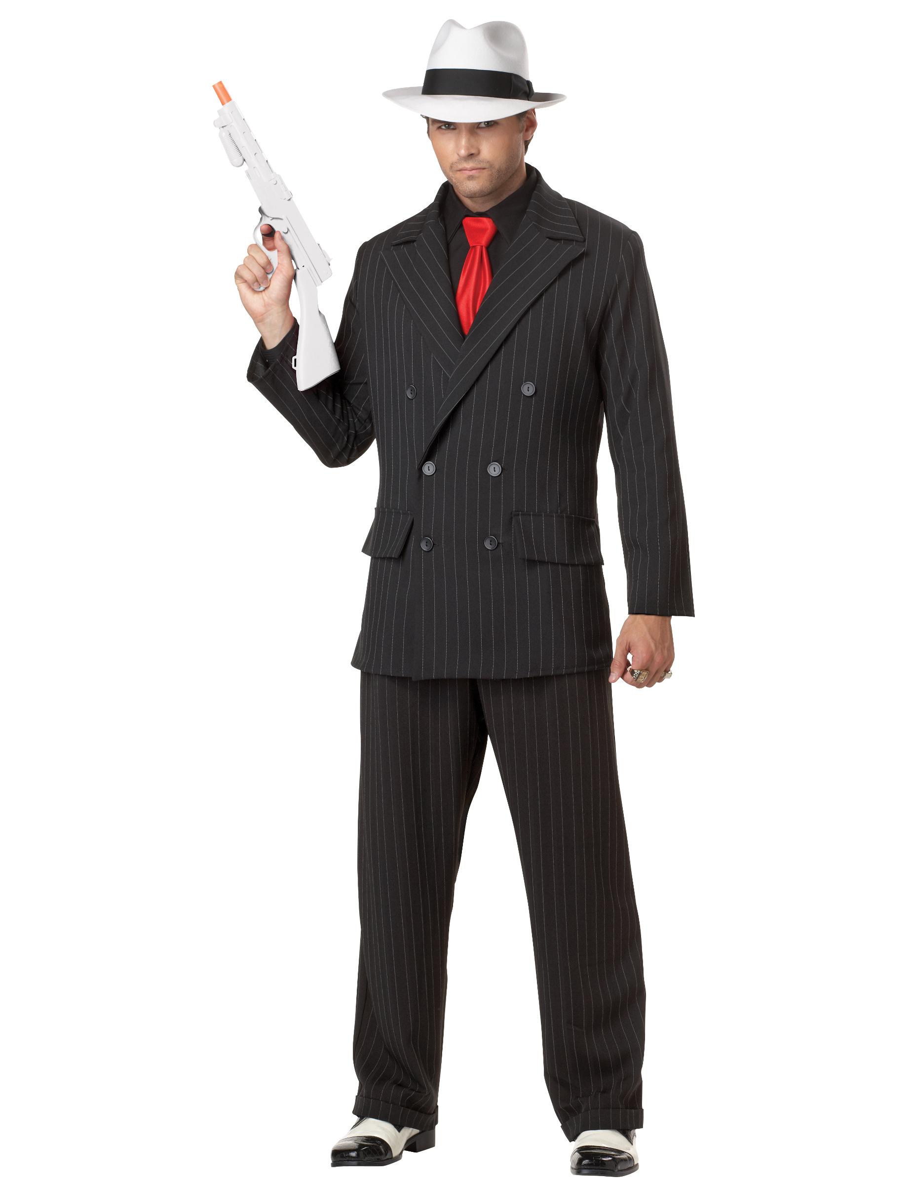 Adulti Uomo Nero Gessato Gangster Suit ANNI/'20 COSTUME