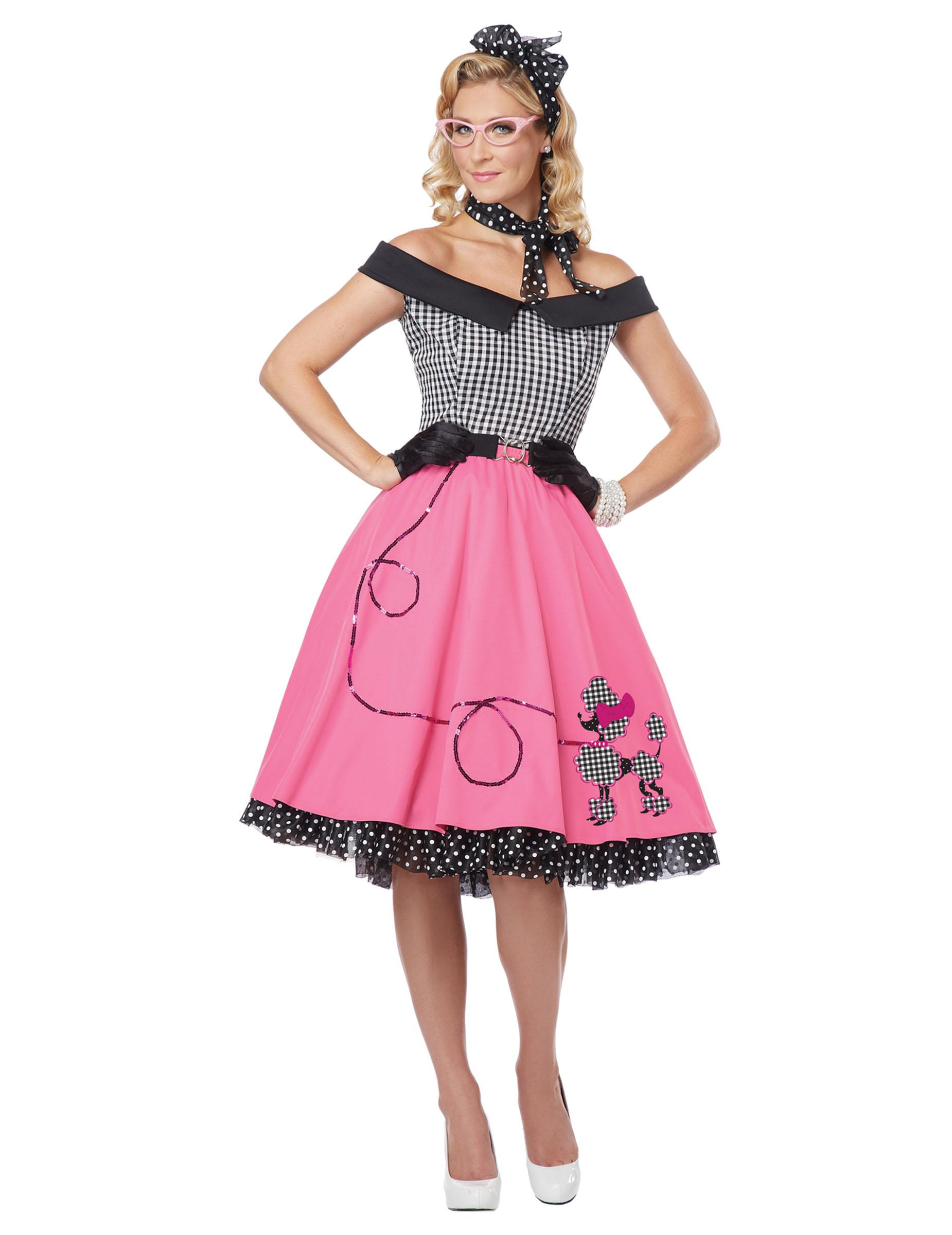 6881e6c972a5c Costume anni  50 vichy e rosa per donna  Costumi adulti