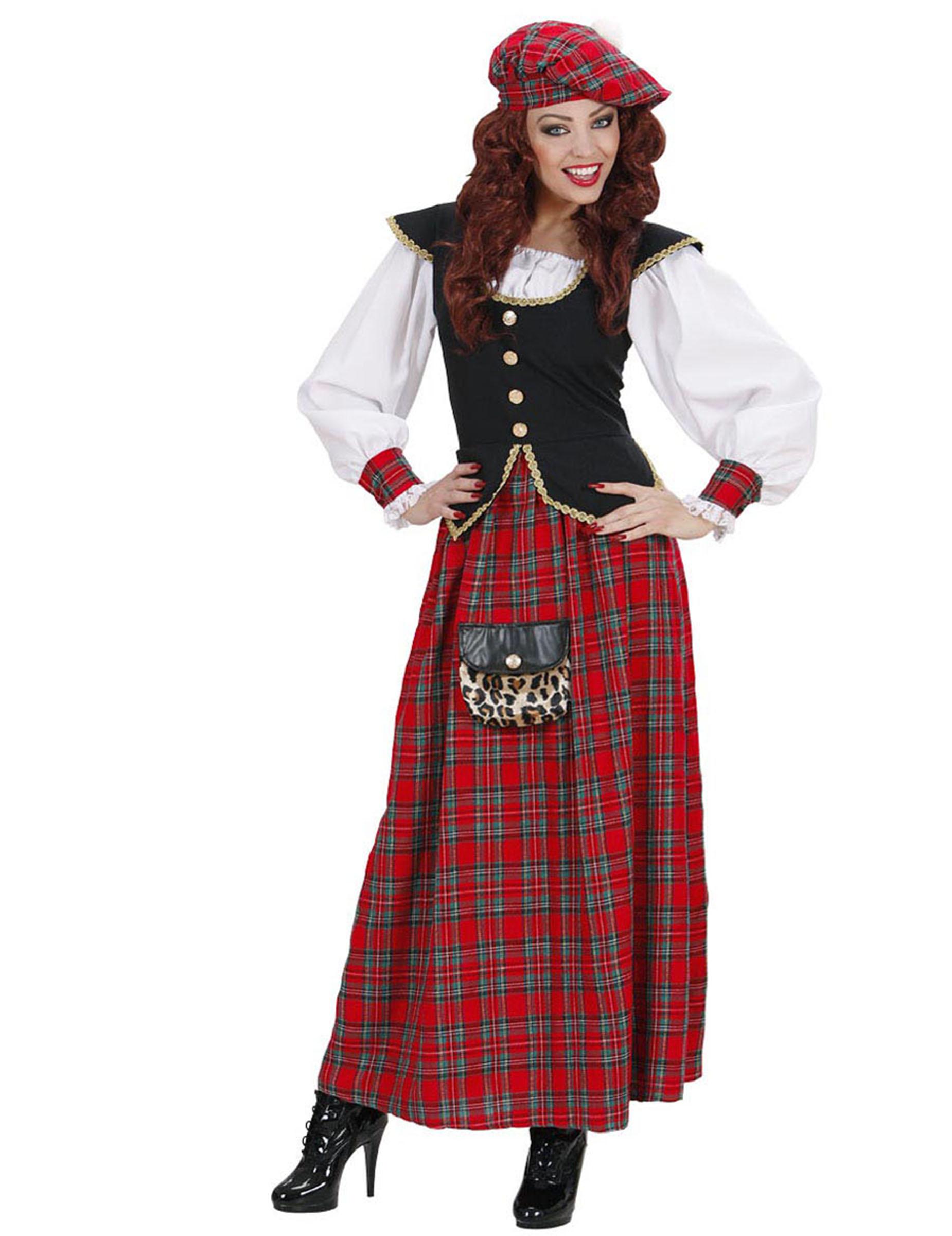 Costume da donna scozzese con gonna lunga costumi adulti - Costume da bagno intero con gonna ...