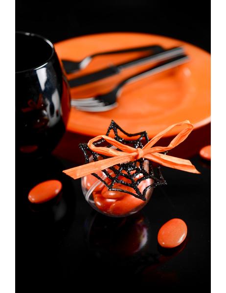 Decorazione Di Halloween 6 Mini Ragnatele Con Paillettes