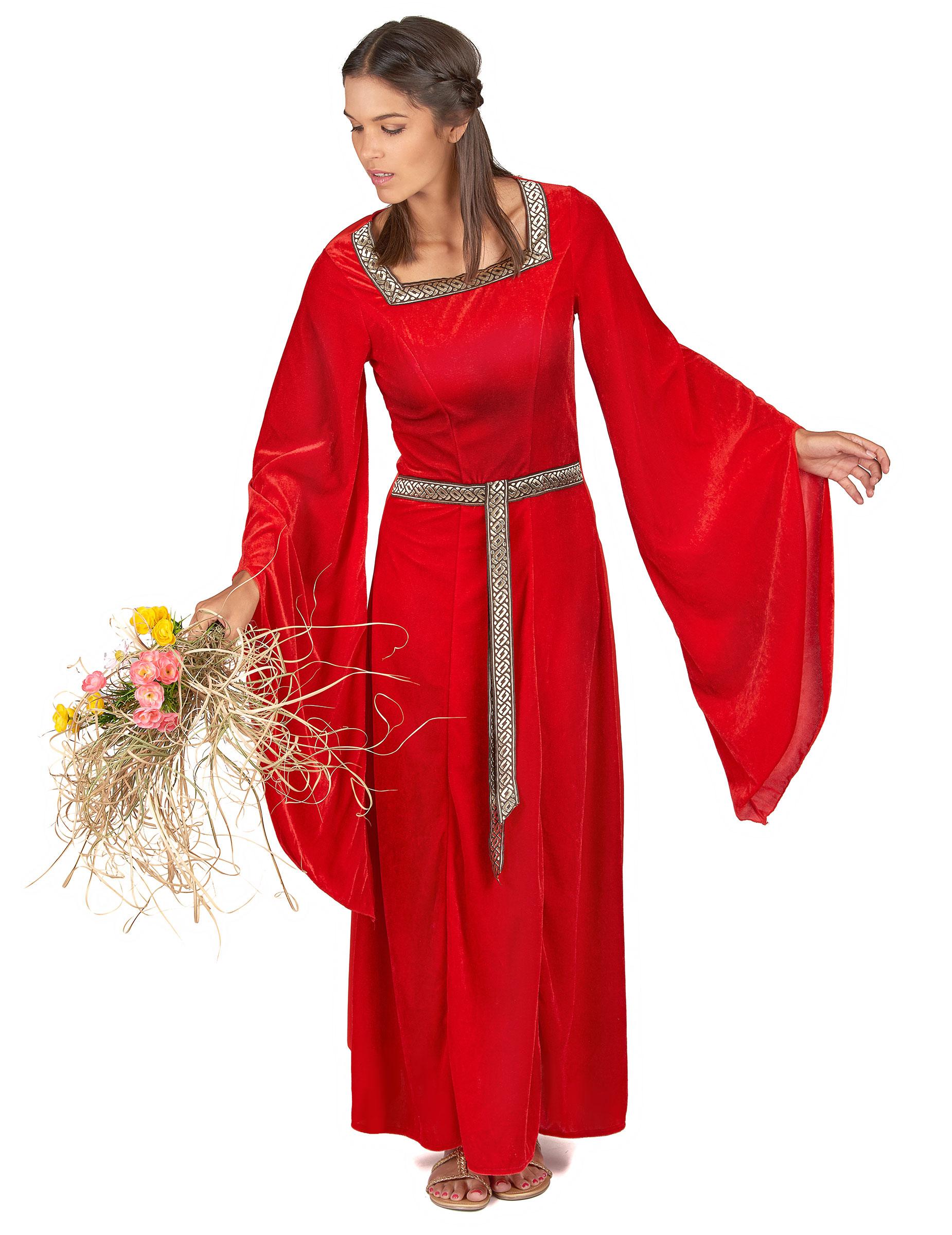 Costume medievale donna di colore rosso  Costumi adulti ac0f18fb671