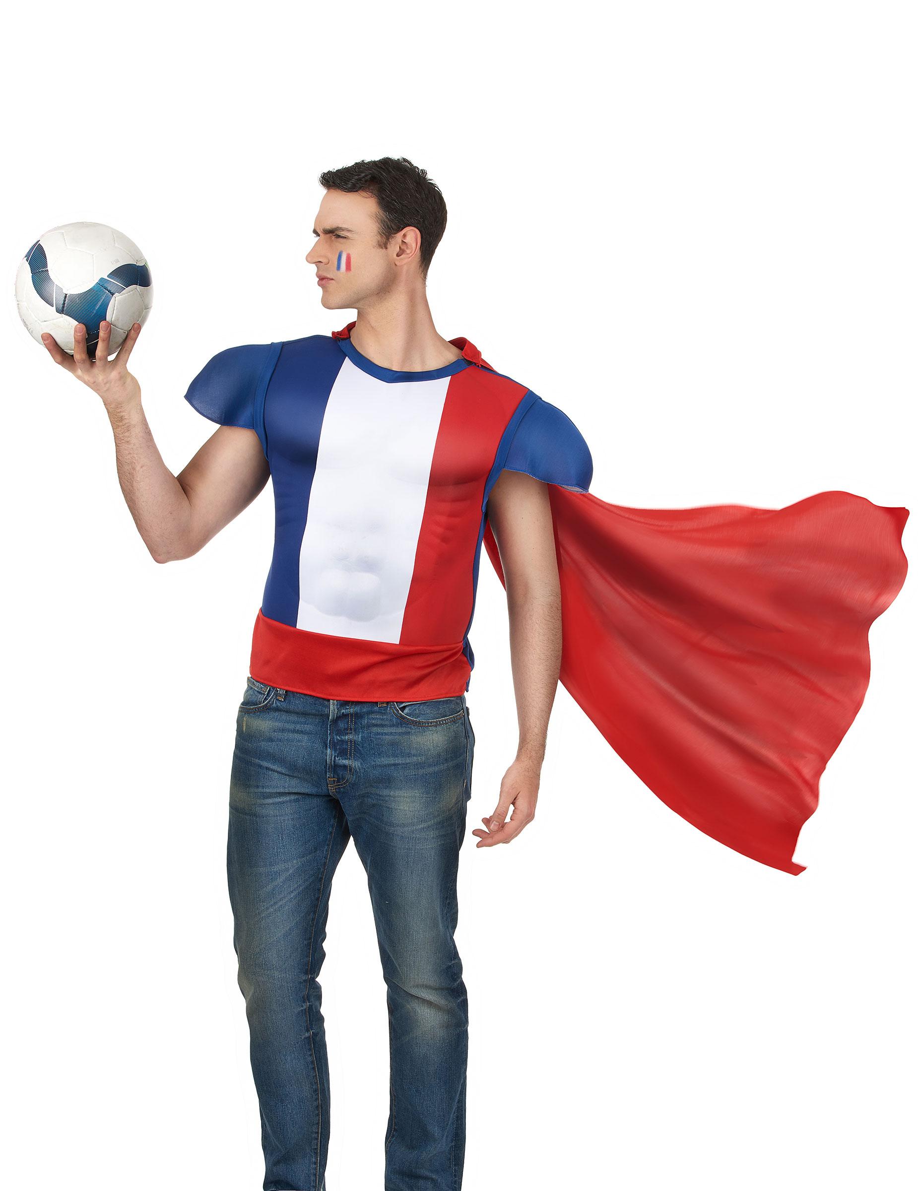 Maglietta da eroe con mantello francia costumi adulti e - Costumi da bagno con maglietta ...