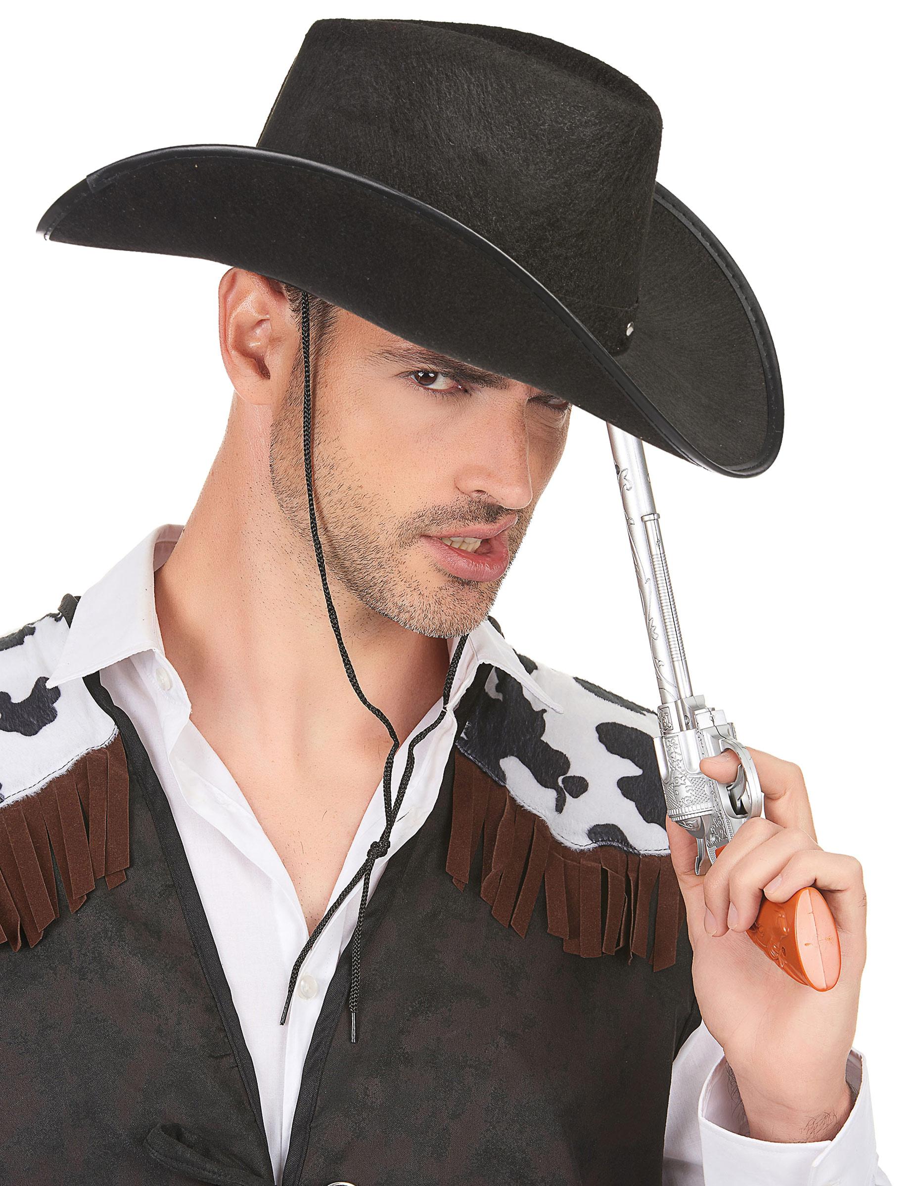 Cappello Cowboy nero con borchie per adulto  Cappelli 00386ba7131a