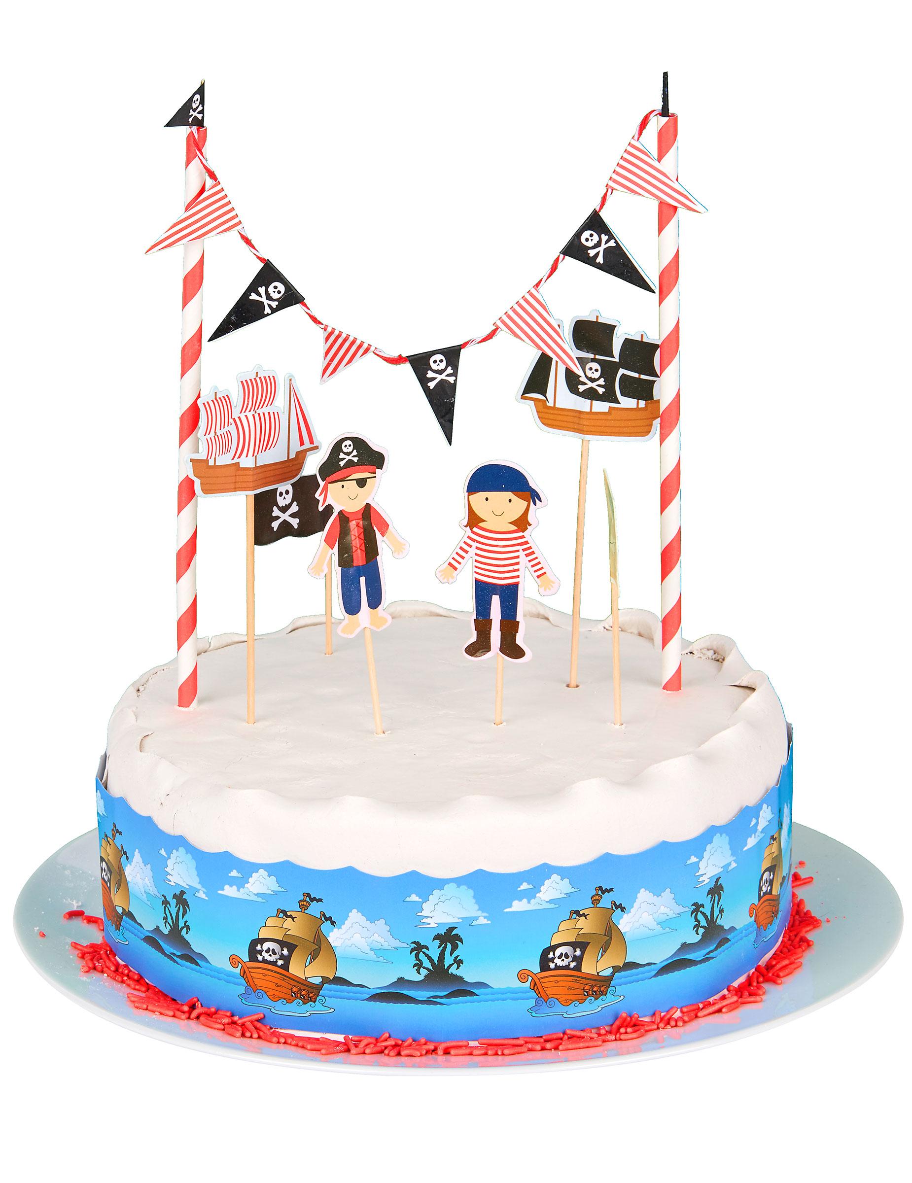 Set decorazione per torte pirati addobbi e vestiti di carnevale online vegaoo - Decorazioni per torte di carnevale ...
