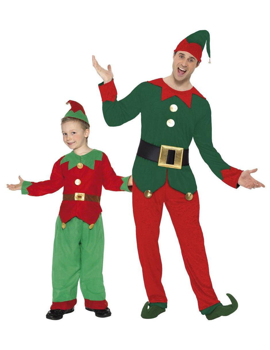 Travestimento coppia elfi Natale padre e figlio  Costumi coppia d1b3b80e8456