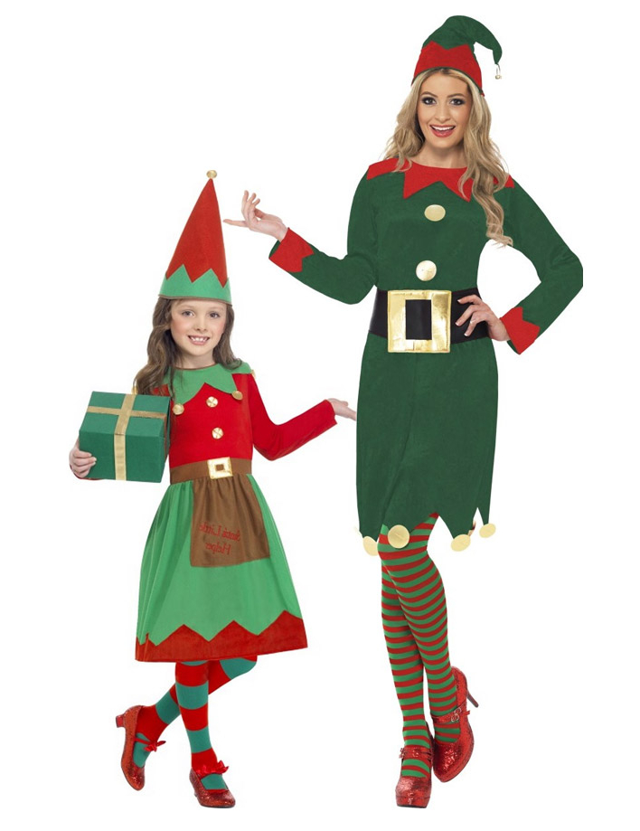 Travestimento coppia elfi di Natale madre e figlia 4ffc23d0fb29