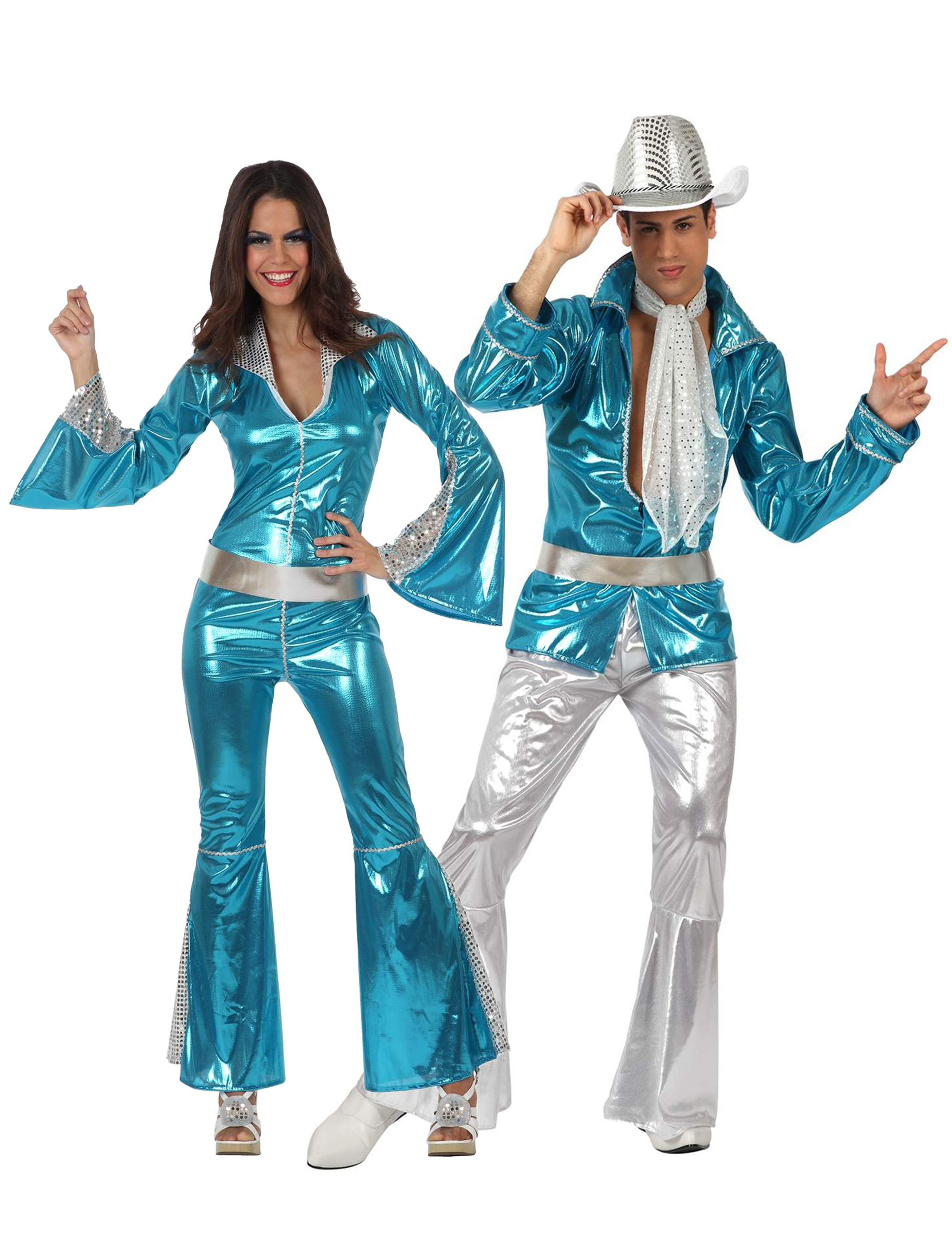 d2322a78c12e Travestimento coppia disco blu adulti  Costumi coppia