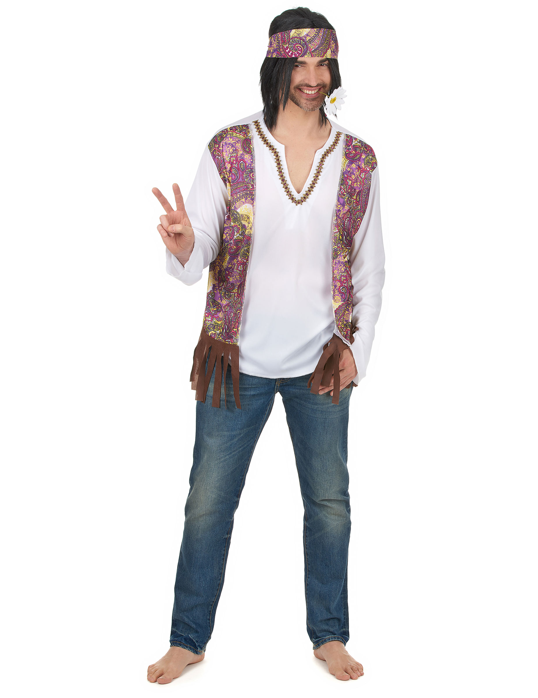 Costume da Hippie con fascia per uomo 365595a56d2