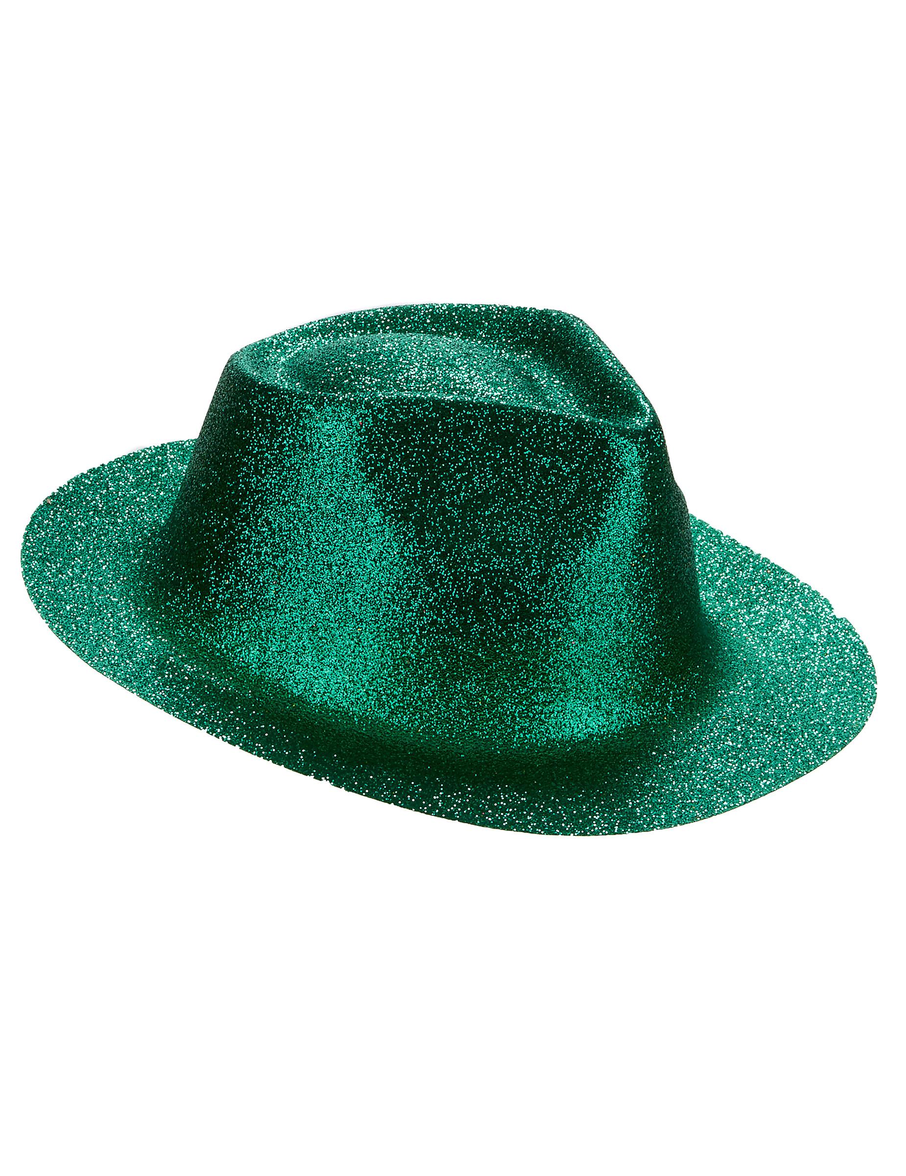 Cappello borasalino verde con brillantini per adulto 82e837c14b02