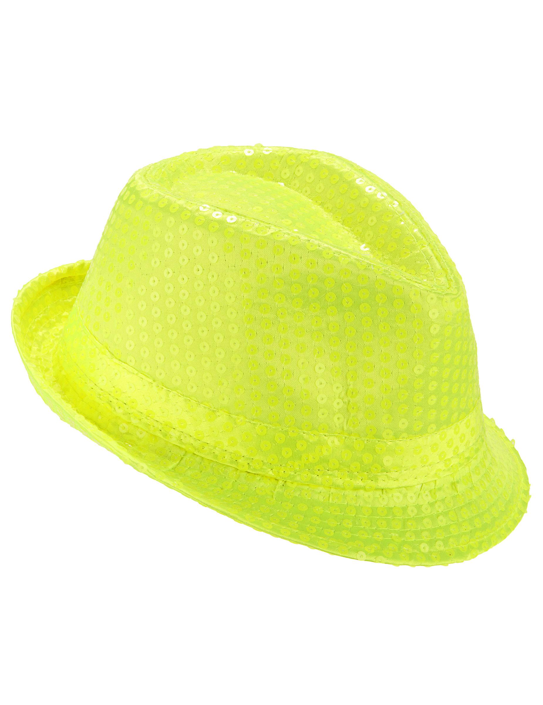 Cappello borsalino paillettato giallo fluo adulto  Cappelli dff6339dd0aa