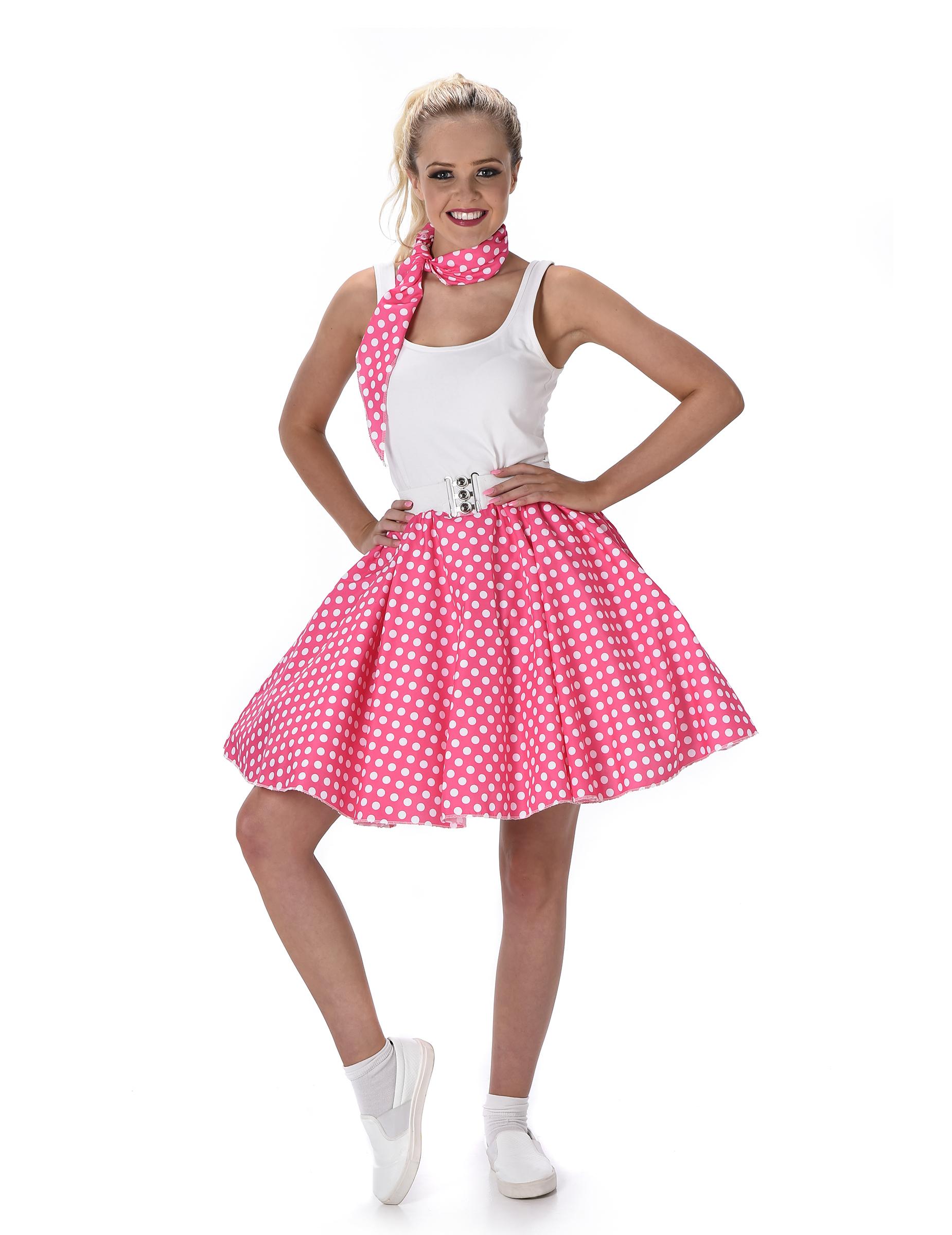 568b2765c4d5c Costume Anni  50 rosa a pois per donna  Costumi adulti