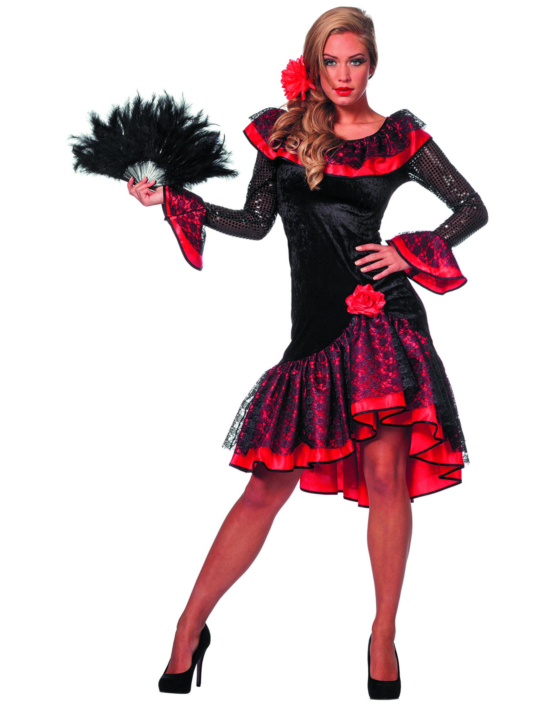 663f98a6097d3 Costume da ballerina spagnola nero e rosso per donna  Costumi adulti ...