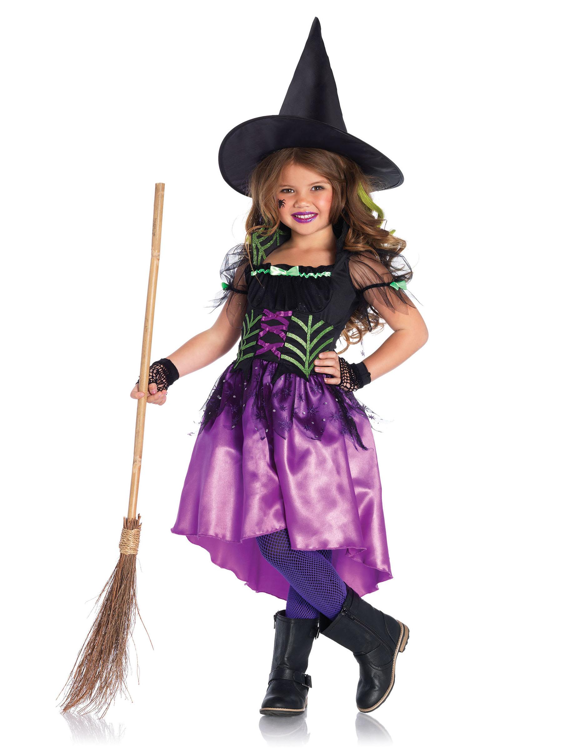 Costume strega incantatrice bambina Halloween: Costumi ...