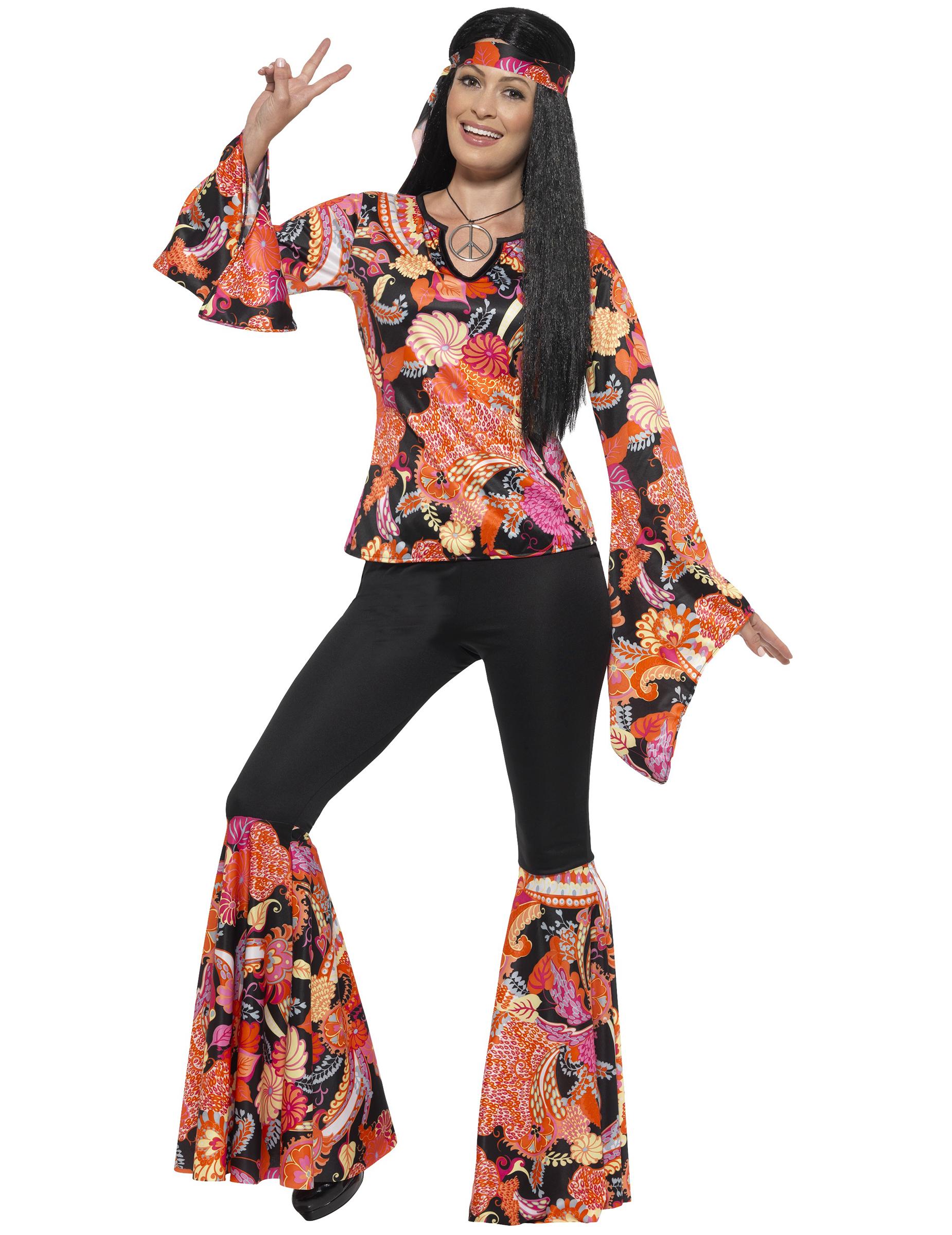 2cc77d0cb692 Costume hippie nero e multicolore per donna  Costumi adulti