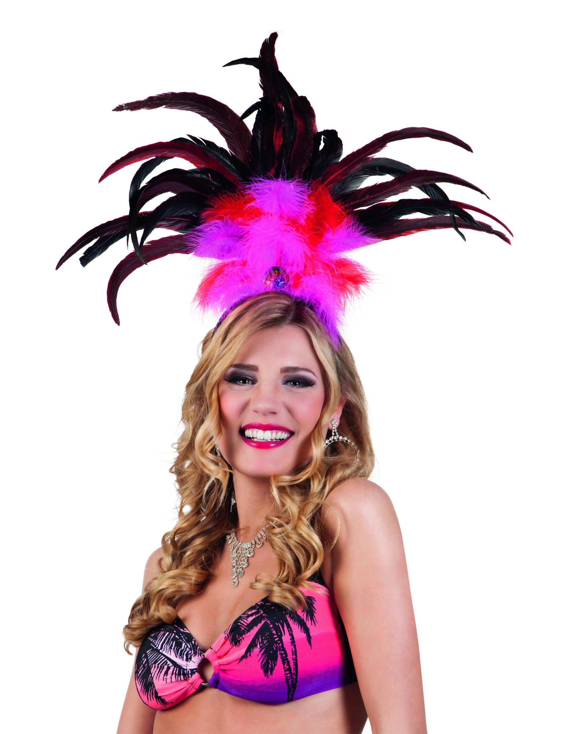 3b47de306f Copricapo carnevale brasiliano rosa con piume: Accessori,e vestiti ...