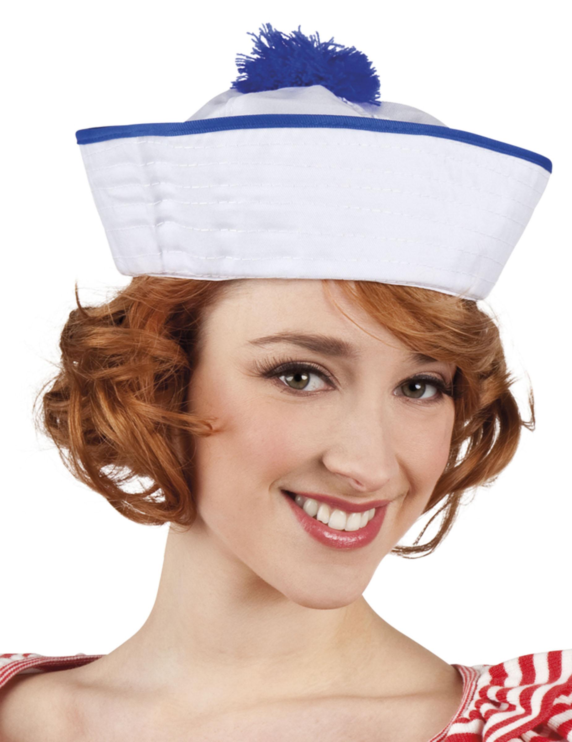 Cappello da marinaio con pompon per donna  Cappelli 2175a9dbe704