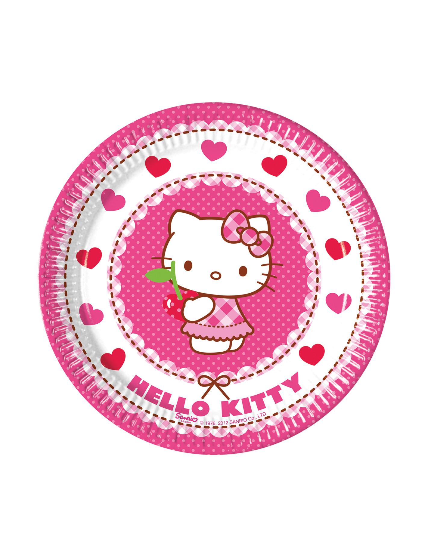 Piatti di cartone hello kitty™ addobbi e vestiti
