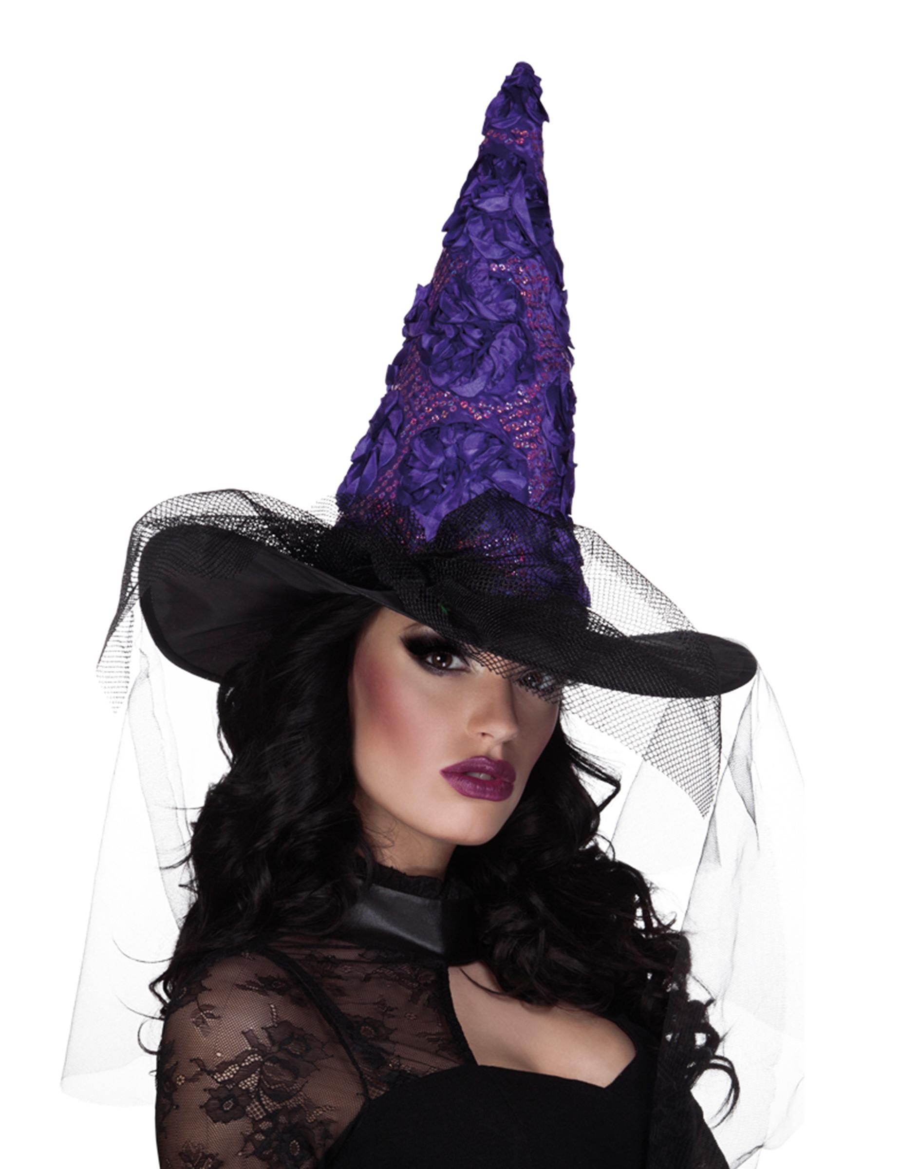 Cappello strega nero e viola Halloween  Cappelli a27ef486fa3c