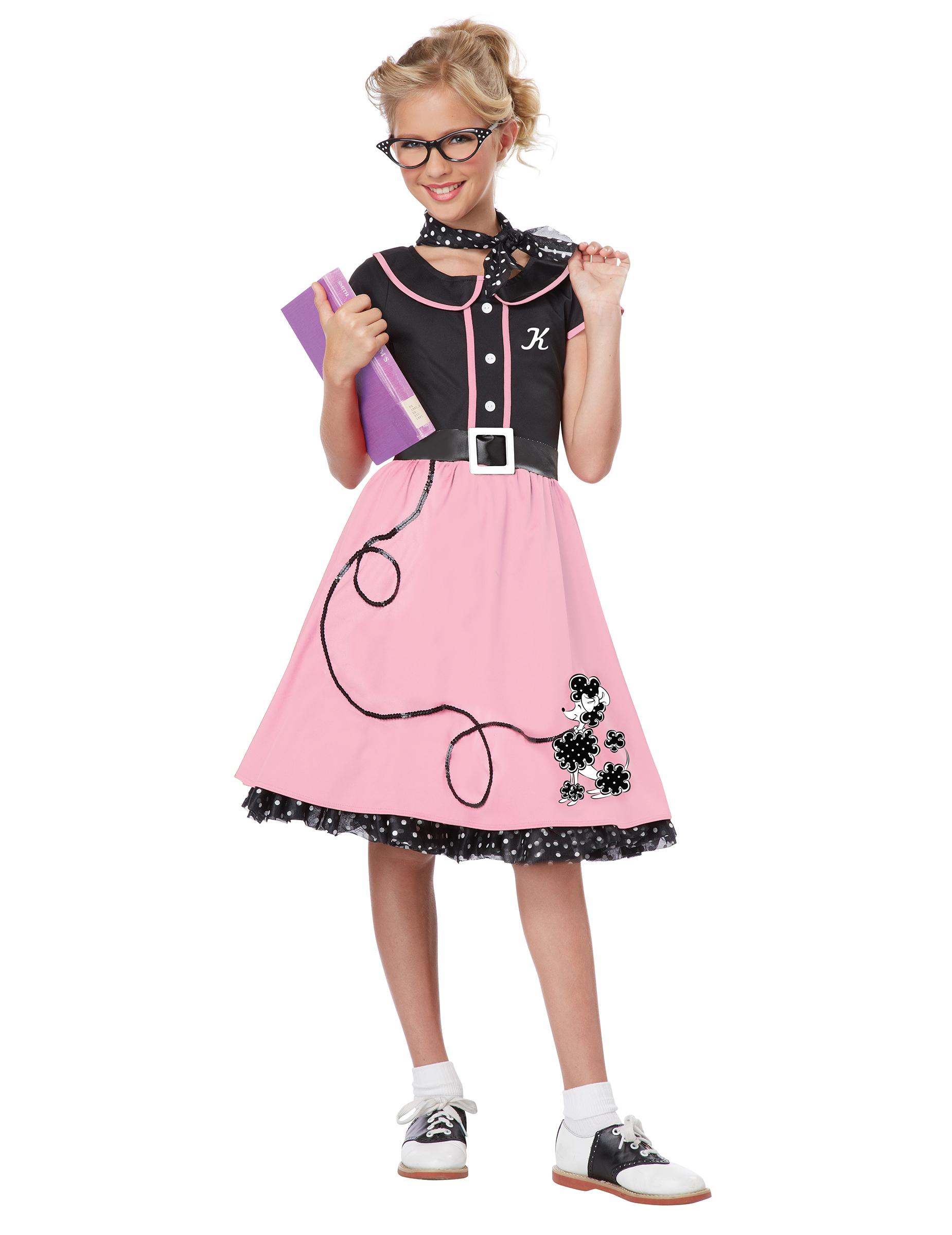 99a65bc8b2d25 Costume Anni  50 rosa e nero per bambina  Costumi bambini