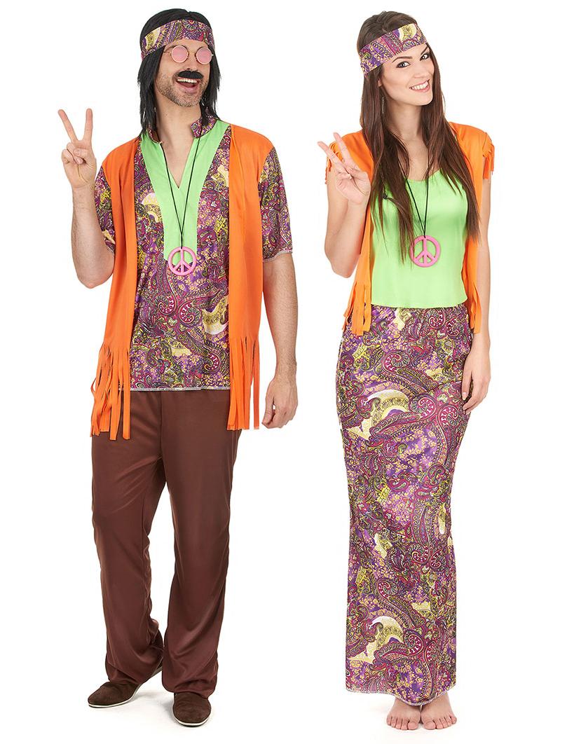wholesale dealer 65a62 ab16d Costume coppia Hippie arancione adulto