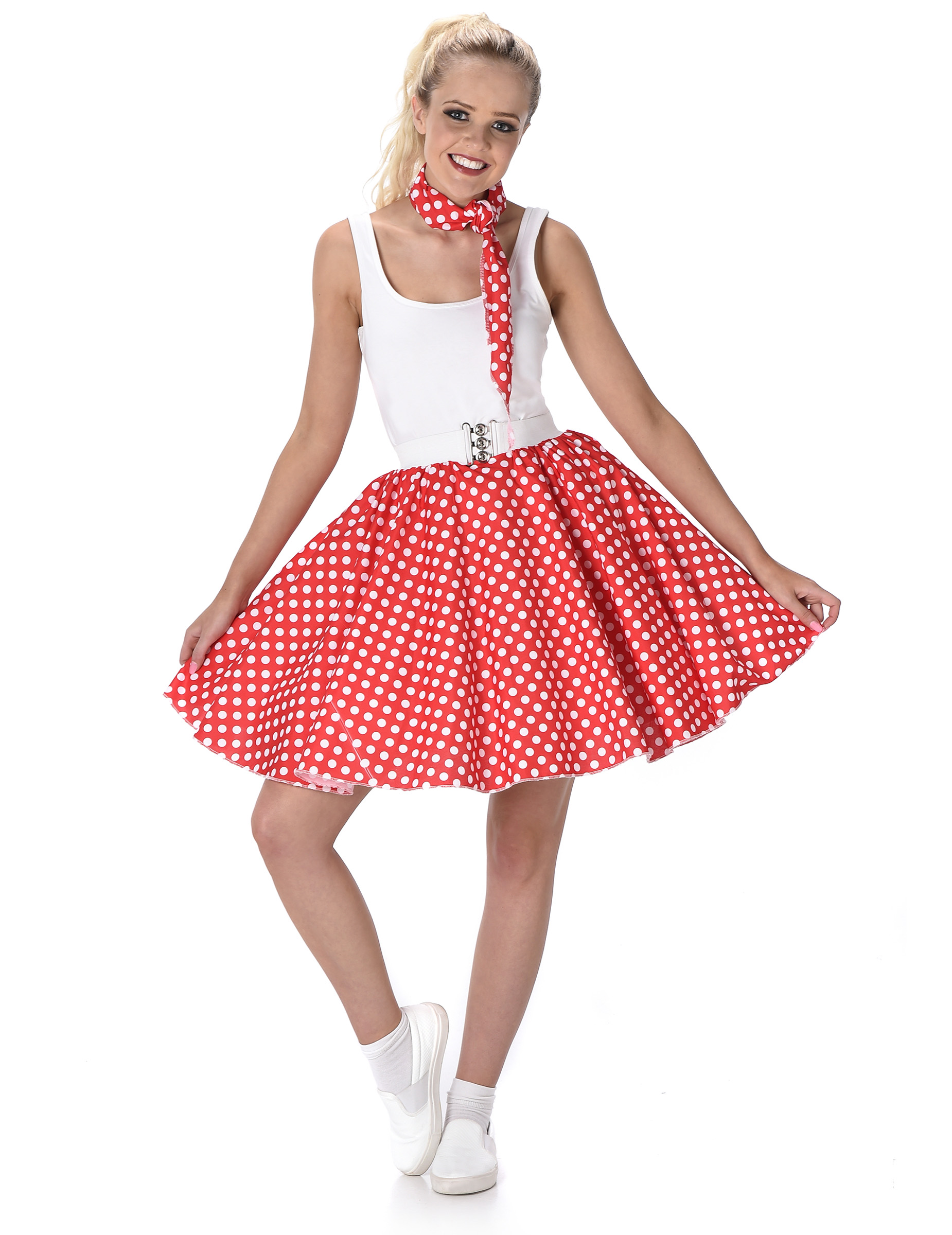 best service bd56c 344ae Costume anni 50 rosso a pois donna