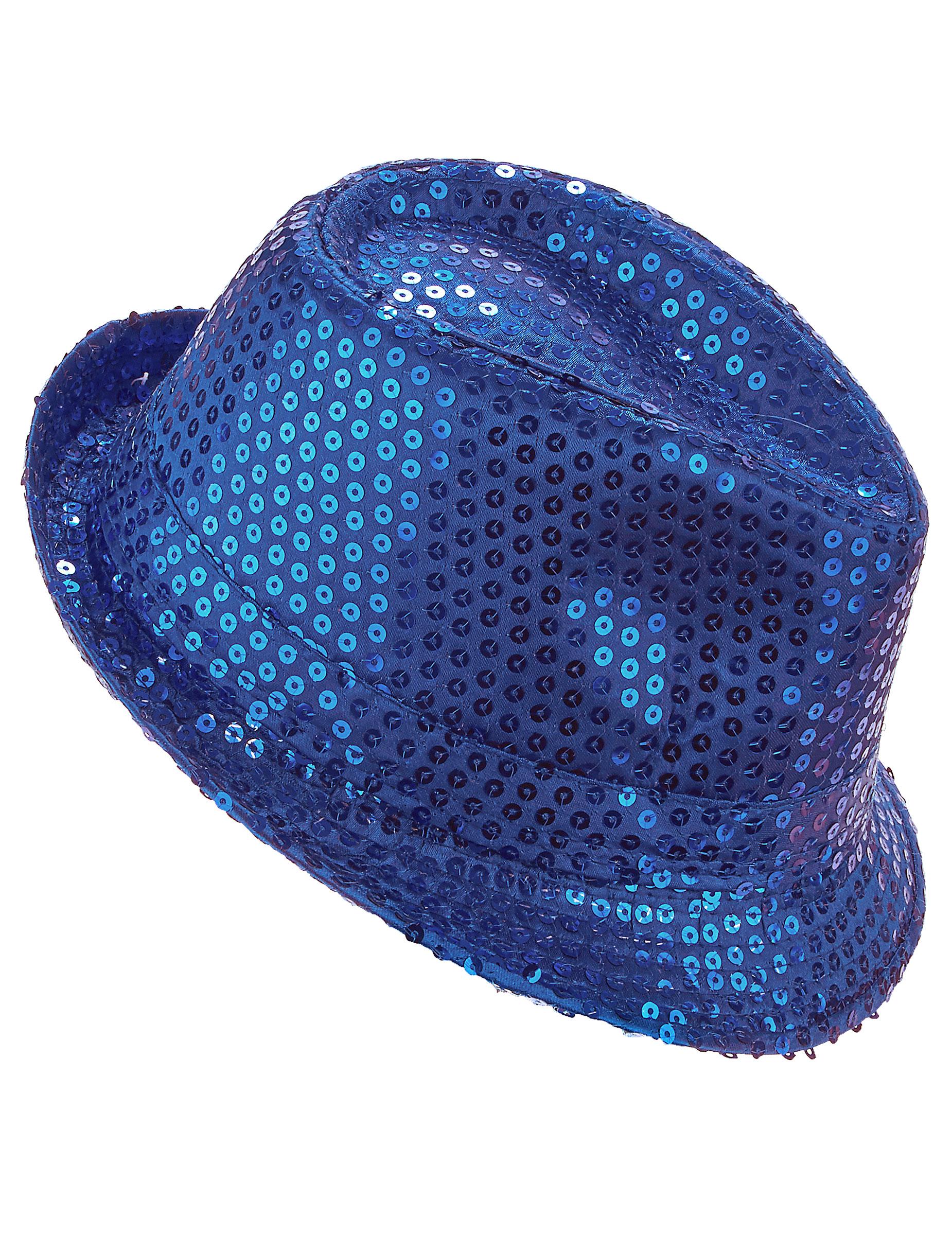 Cappello borsalino con paillettes blu per adulto 8a4bad28b560