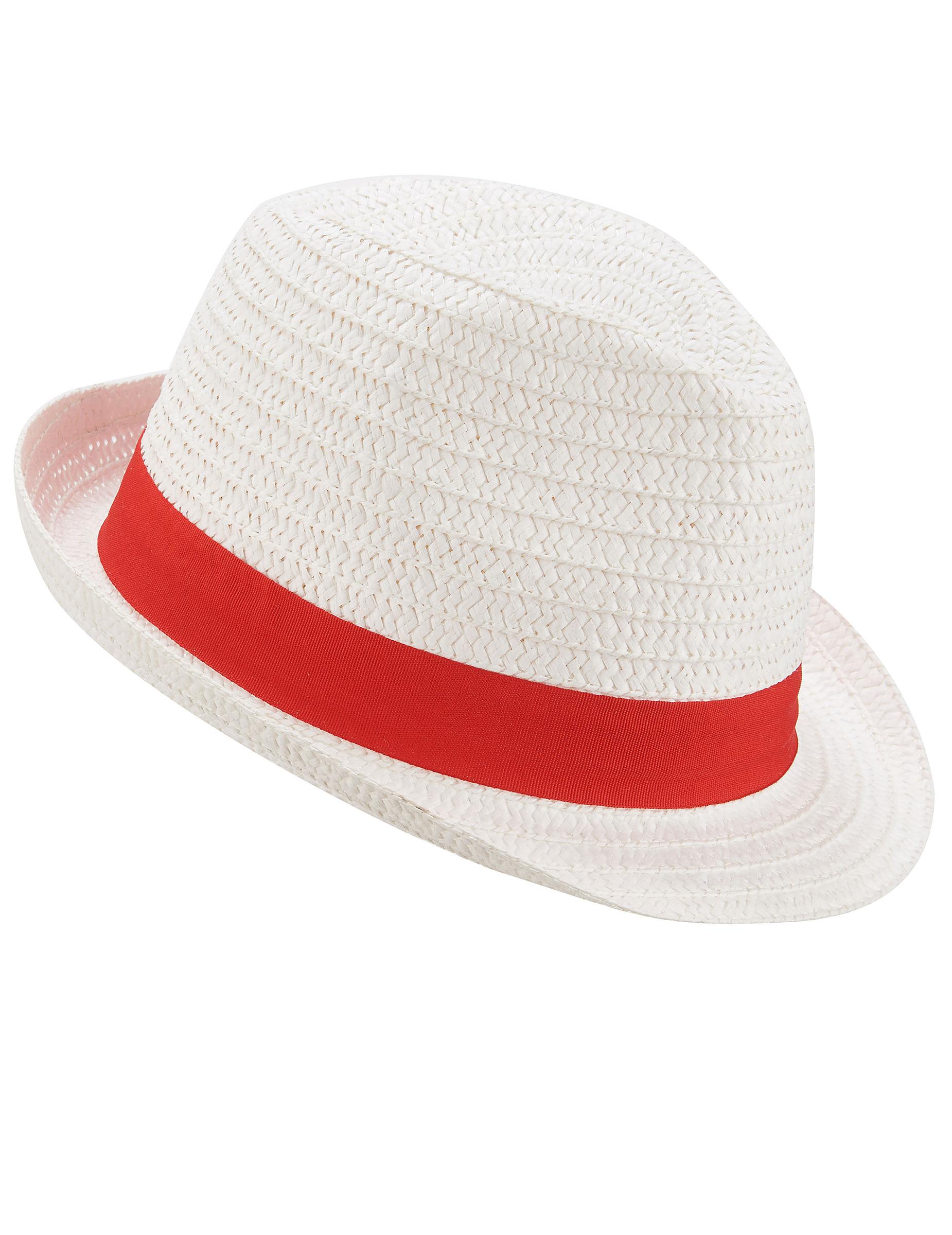 Cappello borsalino bianco con fascia rossa per adulto  Cappelli f51ce69defc7