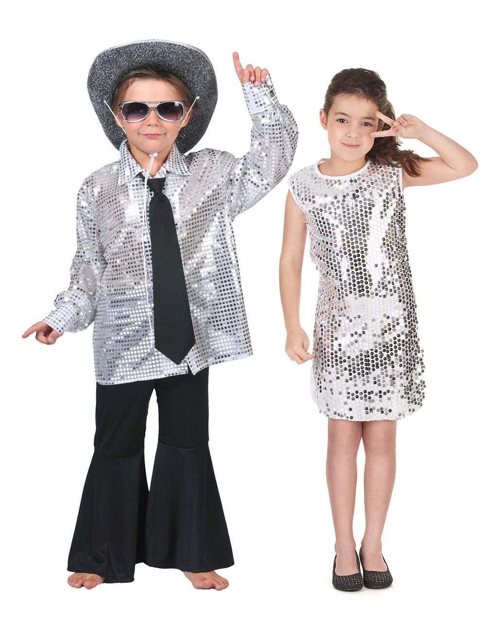 Costume coppia disco color argento bambini Costume coppia disco color  argento bambini. Costumi Carnevale coppia Costumi Carnevale coppia. Braccio  di ferro e ... d2d9652ad0a