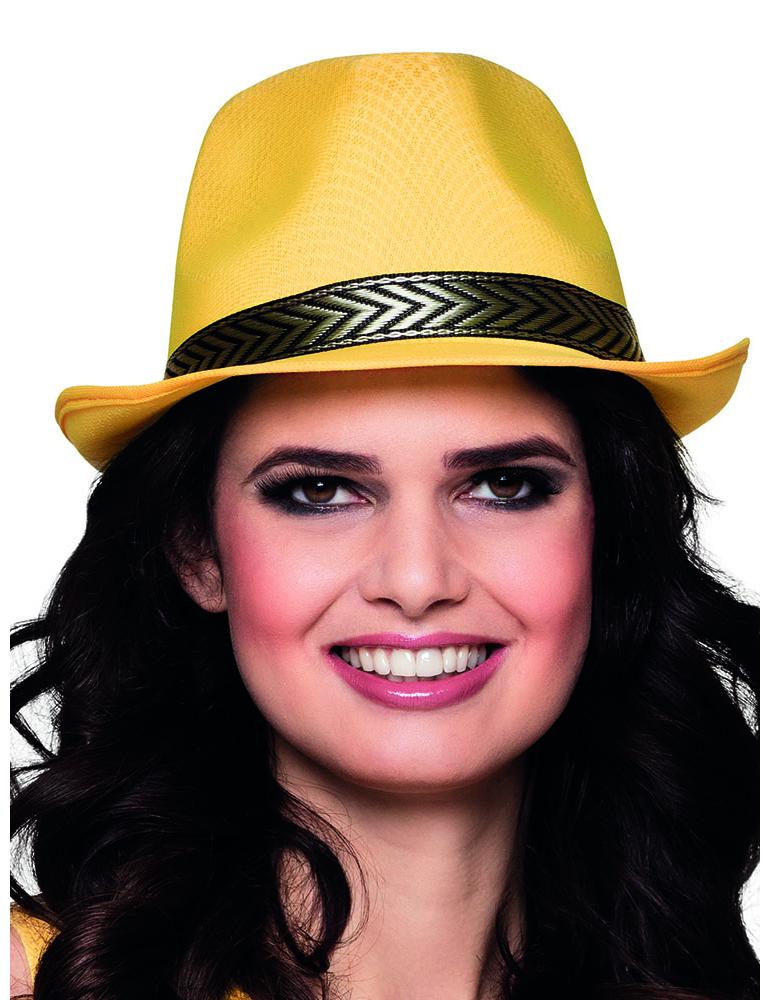 Cappello borsalino giallo e nero per adulto  Cappelli df8ecfa8a60a
