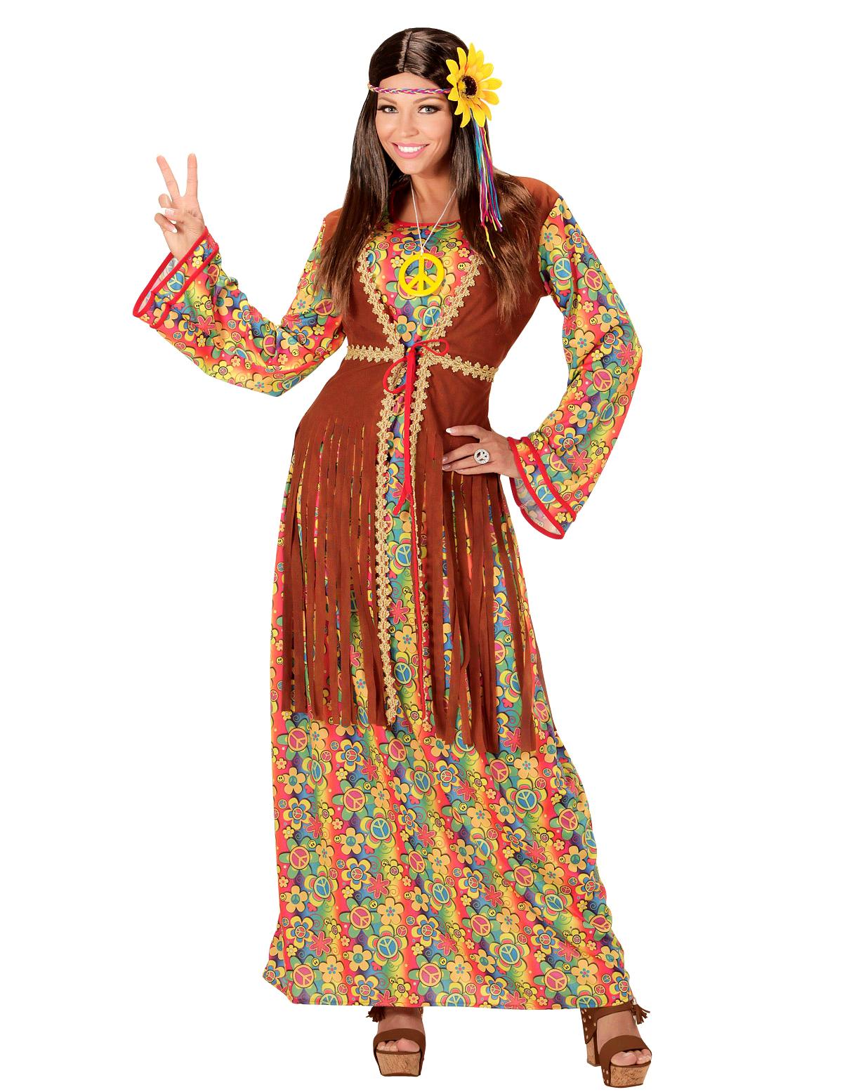 55ac530efb7f Costume da hippie lungo con frange per donna  Costumi adulti
