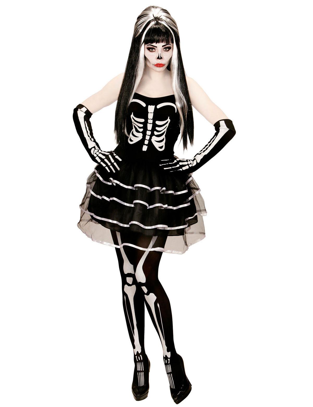 Scheletro Ragazza Tutu Vestito Halloween Costume Tutte Le Età