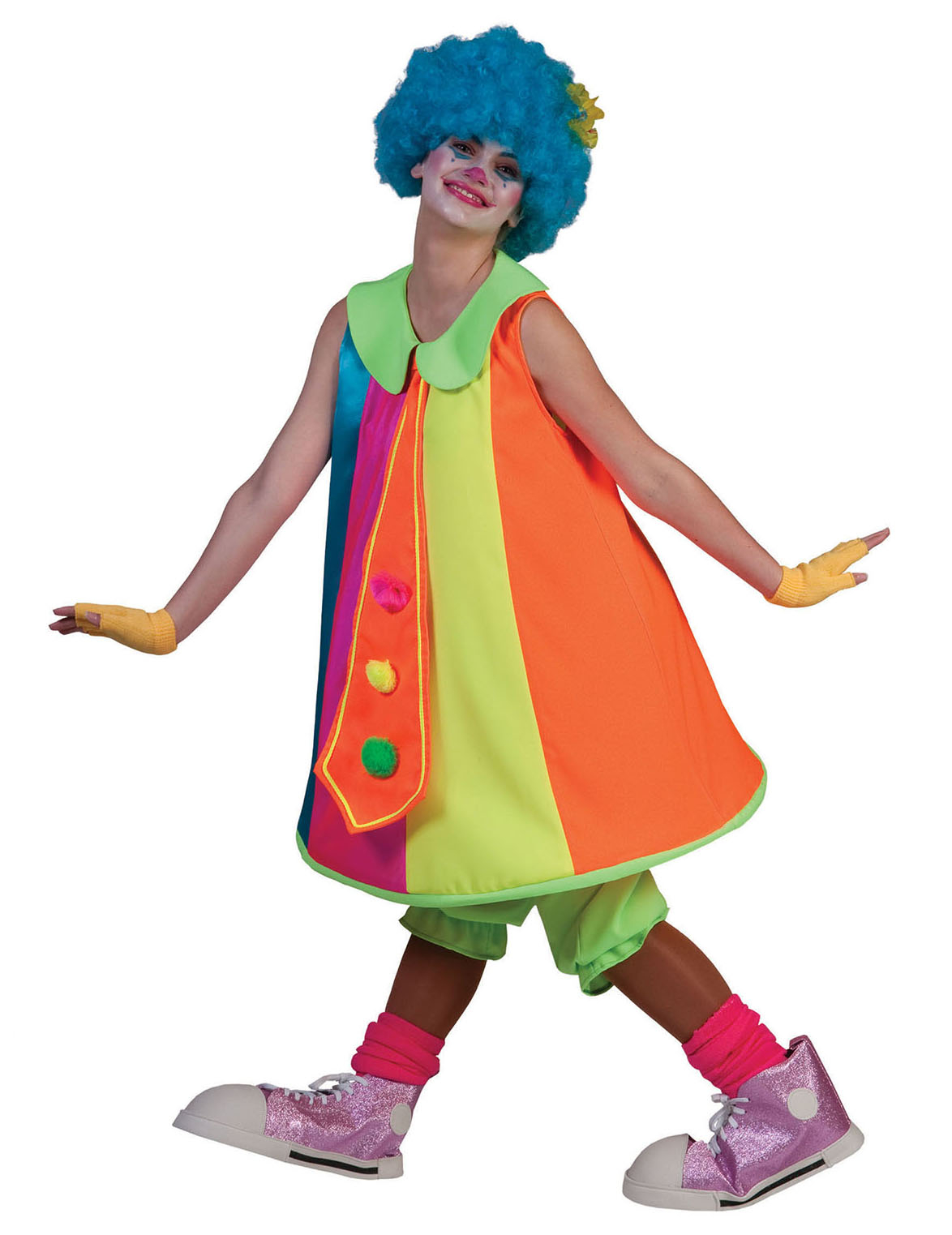 f1097eb126a3 Costume da clown donna fosforescente  Costumi adulti